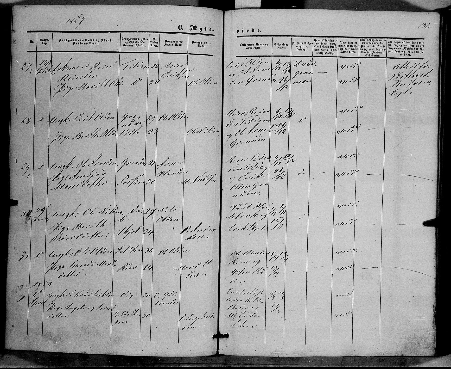 SAH, Vestre Slidre prestekontor, Ministerialbok nr. 2, 1856-1864, s. 131