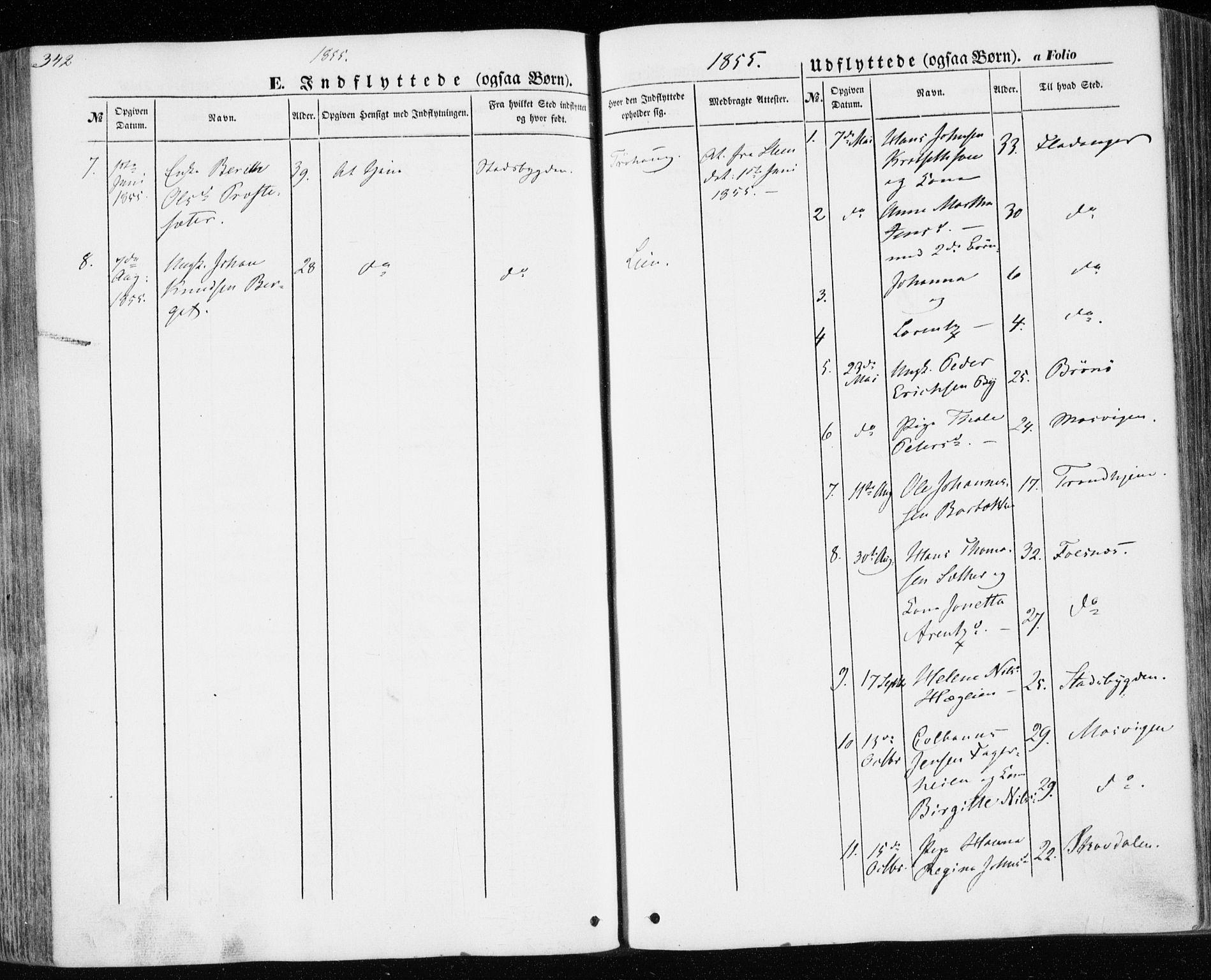 SAT, Ministerialprotokoller, klokkerbøker og fødselsregistre - Nord-Trøndelag, 701/L0008: Ministerialbok nr. 701A08 /1, 1854-1863, s. 342