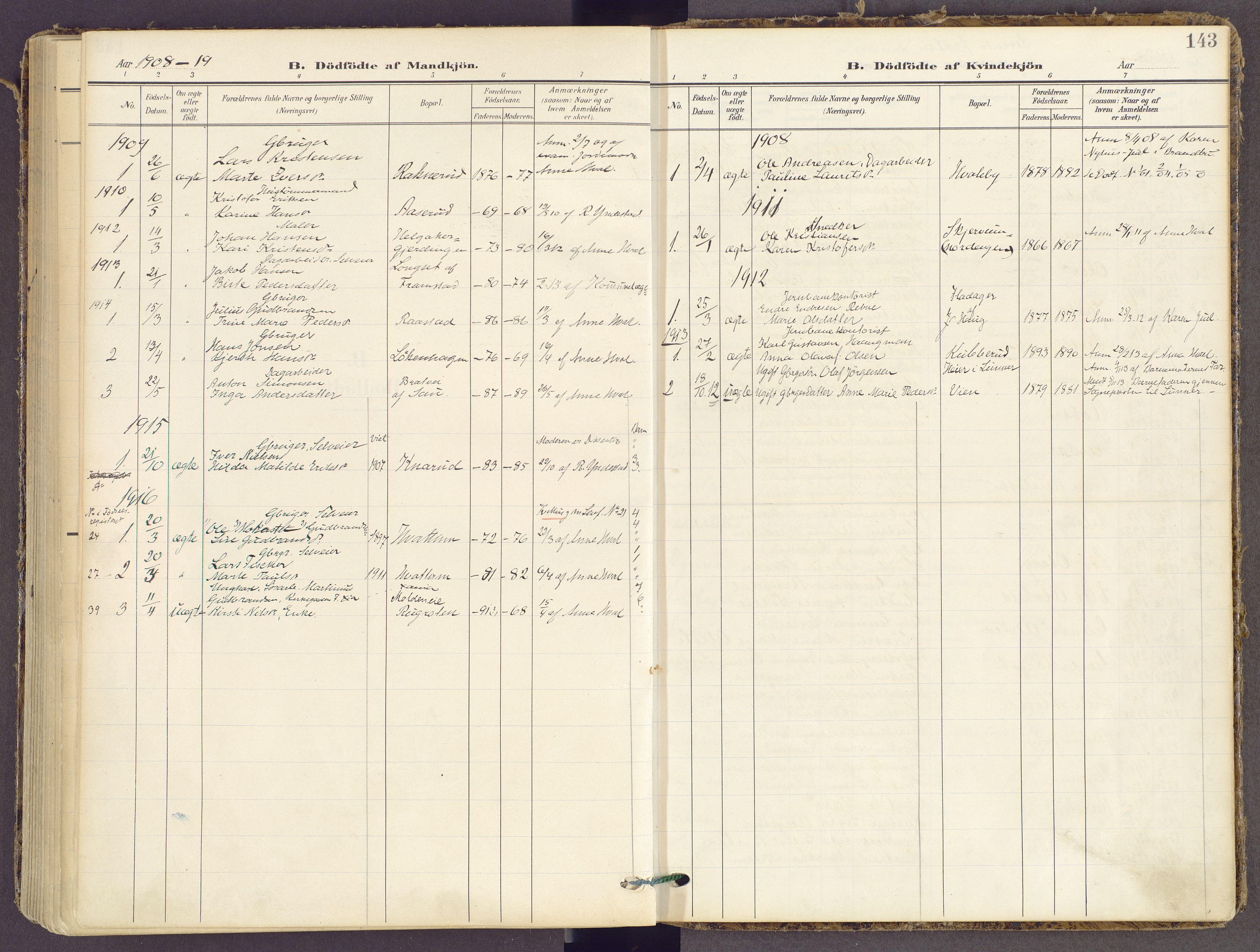 SAH, Gran prestekontor, Ministerialbok nr. 21, 1908-1932, s. 143