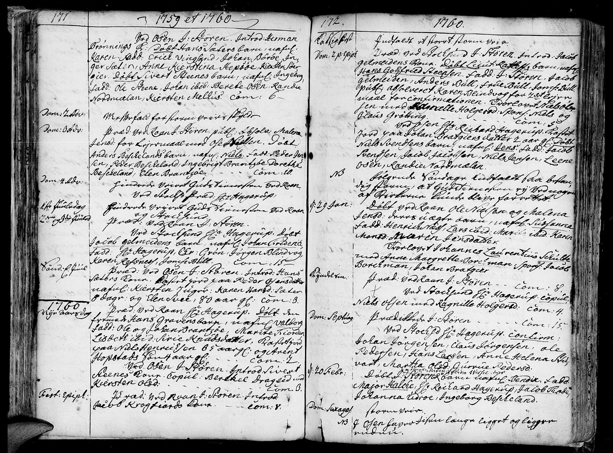 SAT, Ministerialprotokoller, klokkerbøker og fødselsregistre - Sør-Trøndelag, 657/L0700: Ministerialbok nr. 657A01, 1732-1801, s. 171-172