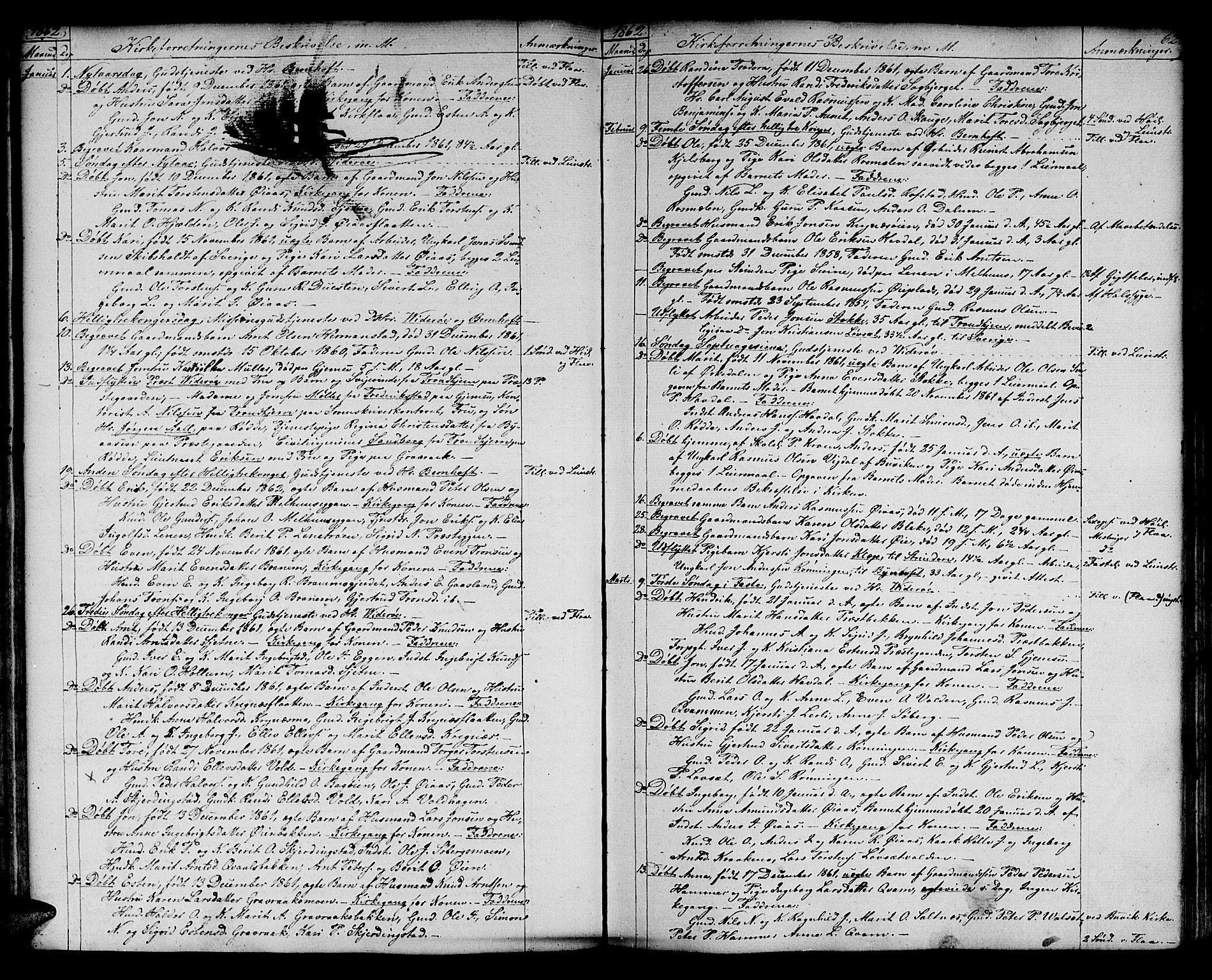SAT, Ministerialprotokoller, klokkerbøker og fødselsregistre - Sør-Trøndelag, 691/L1093: Klokkerbok nr. 691C04, 1852-1879, s. 62