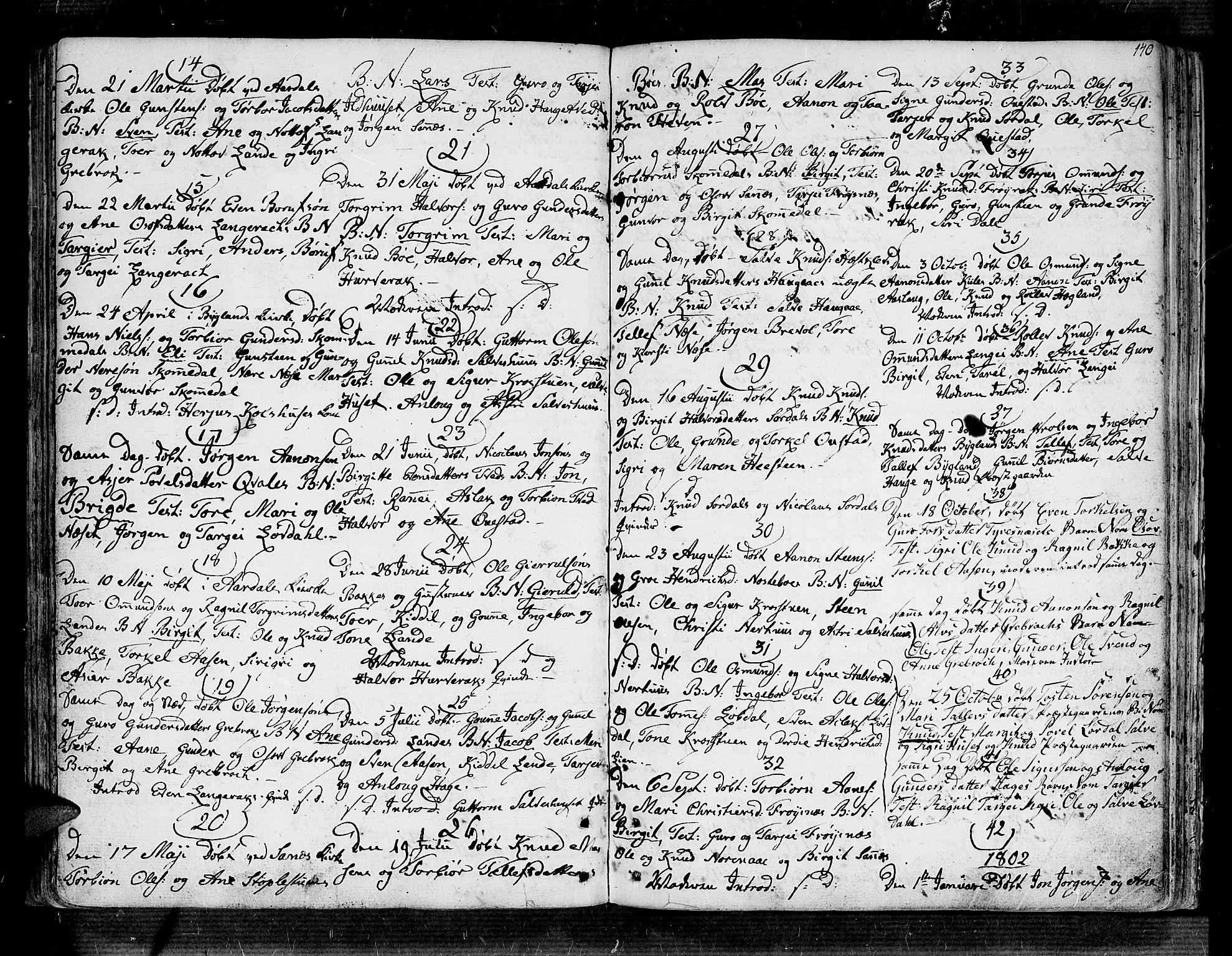 SAK, Bygland sokneprestkontor, F/Fa/Fab/L0002: Ministerialbok nr. A 2, 1766-1816, s. 134