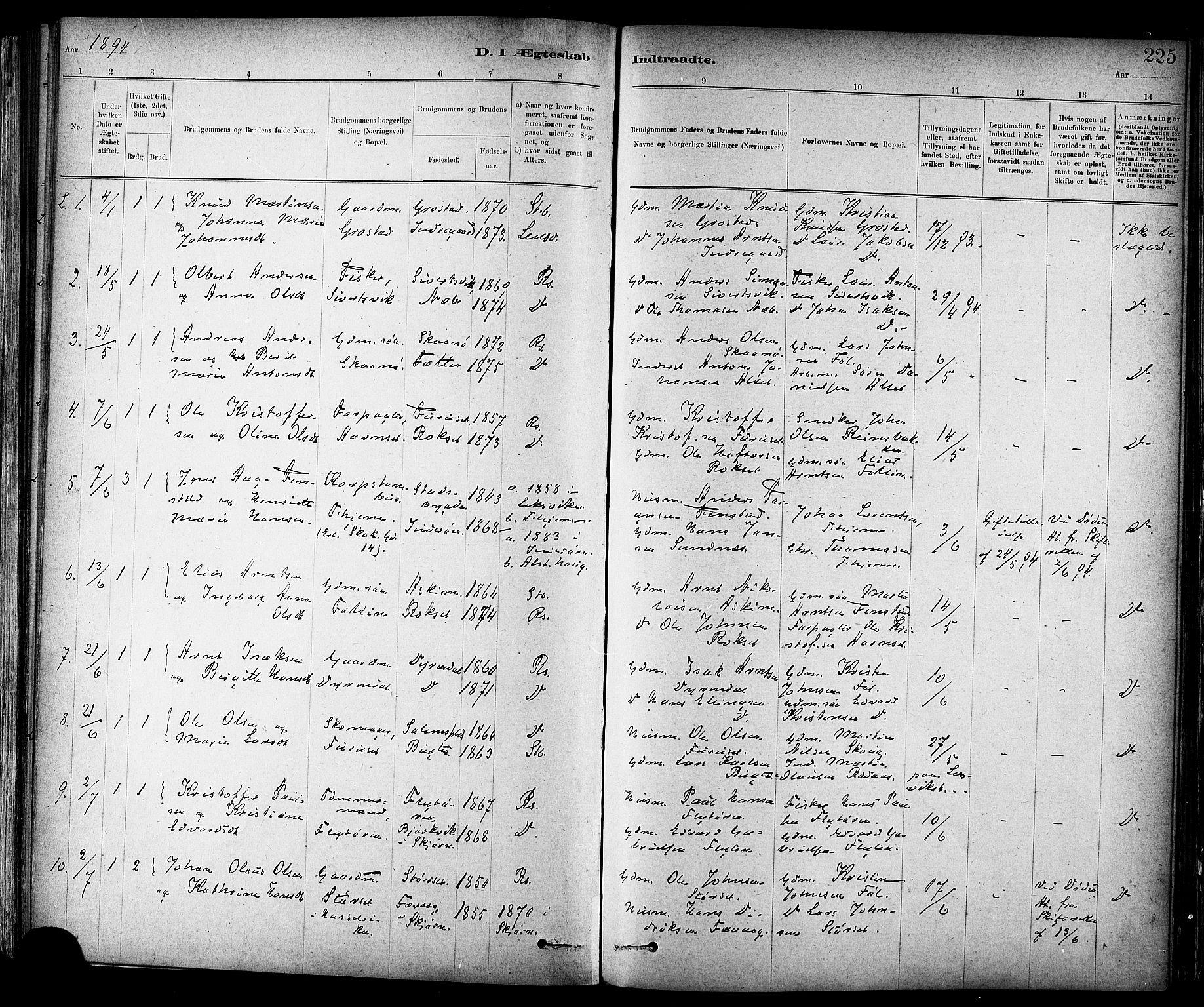 SAT, Ministerialprotokoller, klokkerbøker og fødselsregistre - Sør-Trøndelag, 647/L0634: Ministerialbok nr. 647A01, 1885-1896, s. 225