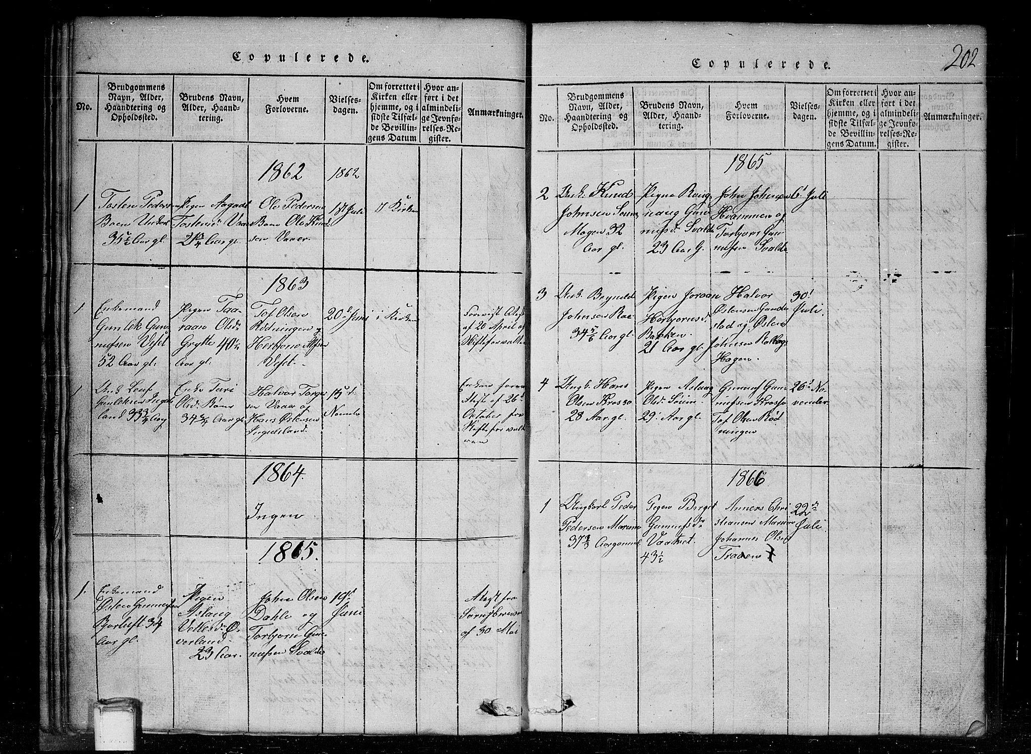 SAKO, Tinn kirkebøker, G/Gc/L0001: Klokkerbok nr. III 1, 1815-1879, s. 202