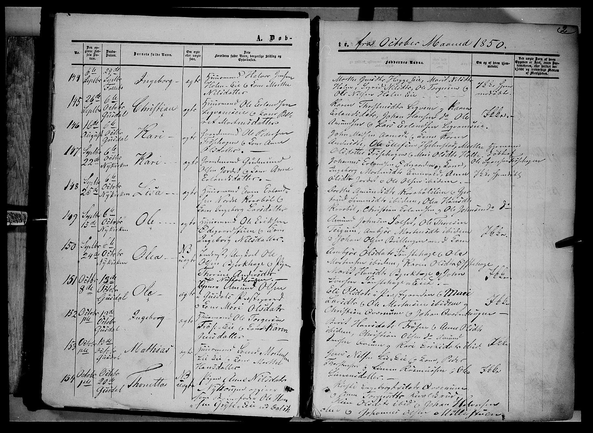SAH, Gausdal prestekontor, Ministerialbok nr. 8, 1850-1861, s. 2