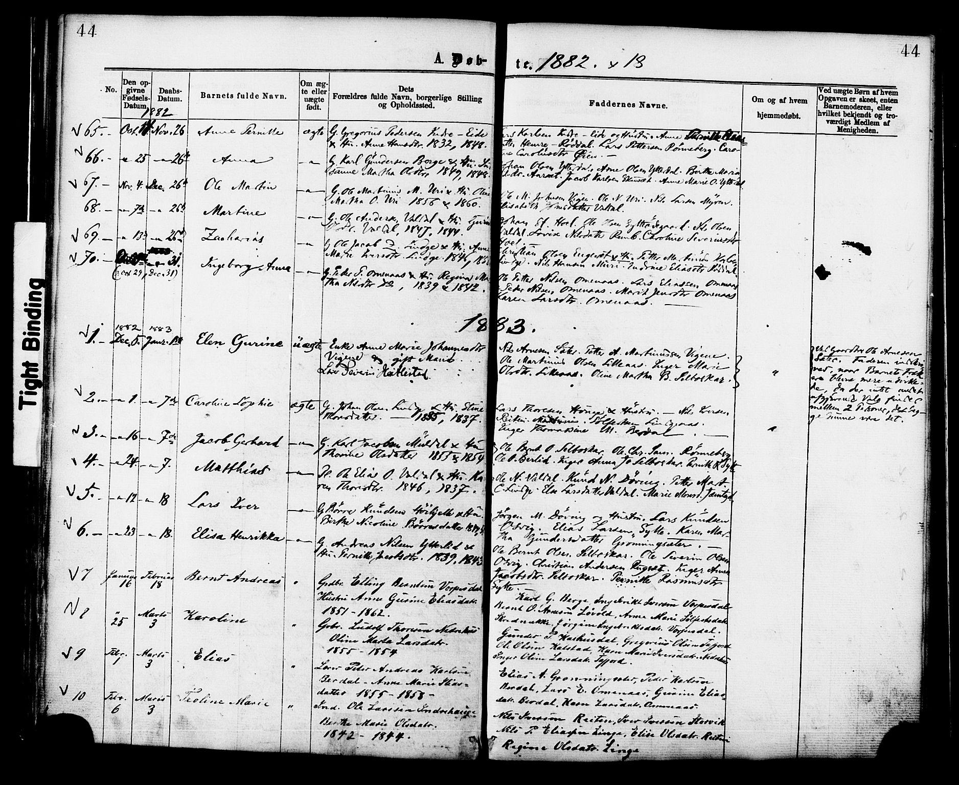 SAT, Ministerialprotokoller, klokkerbøker og fødselsregistre - Møre og Romsdal, 519/L0254: Ministerialbok nr. 519A13, 1868-1883, s. 44
