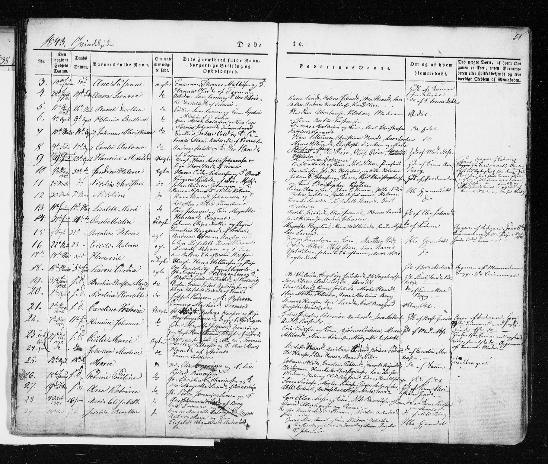 SATØ, Tromsø sokneprestkontor/stiftsprosti/domprosti, G/Ga/L0009kirke: Ministerialbok nr. 9, 1837-1847, s. 51