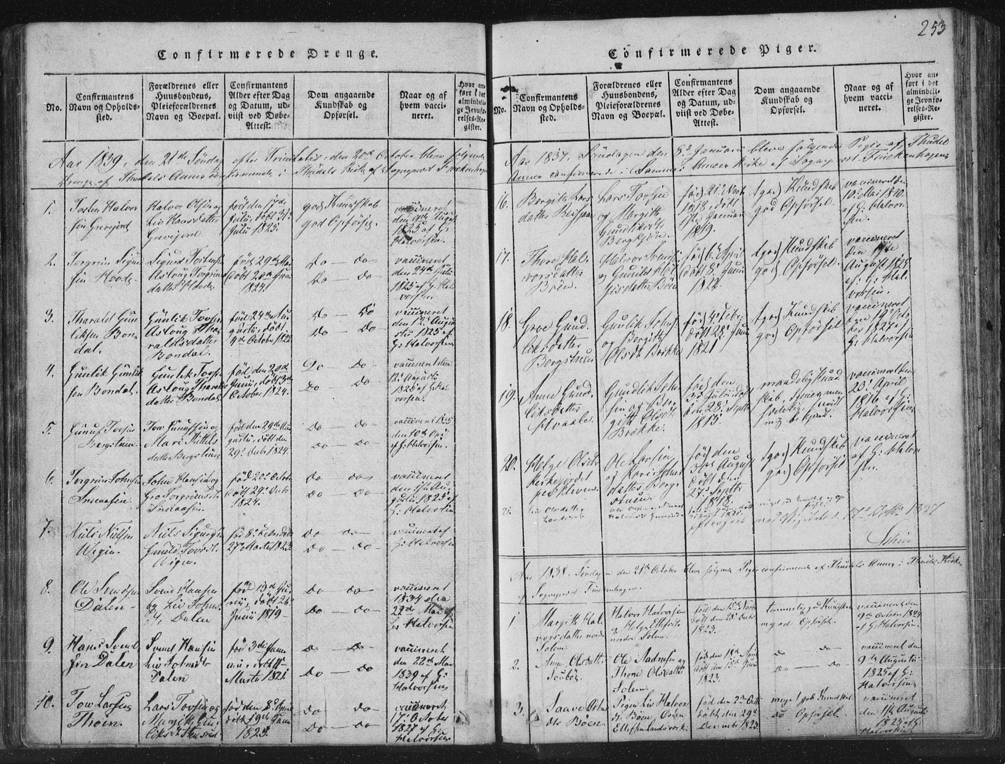 SAKO, Hjartdal kirkebøker, F/Fc/L0001: Ministerialbok nr. III 1, 1815-1843, s. 253