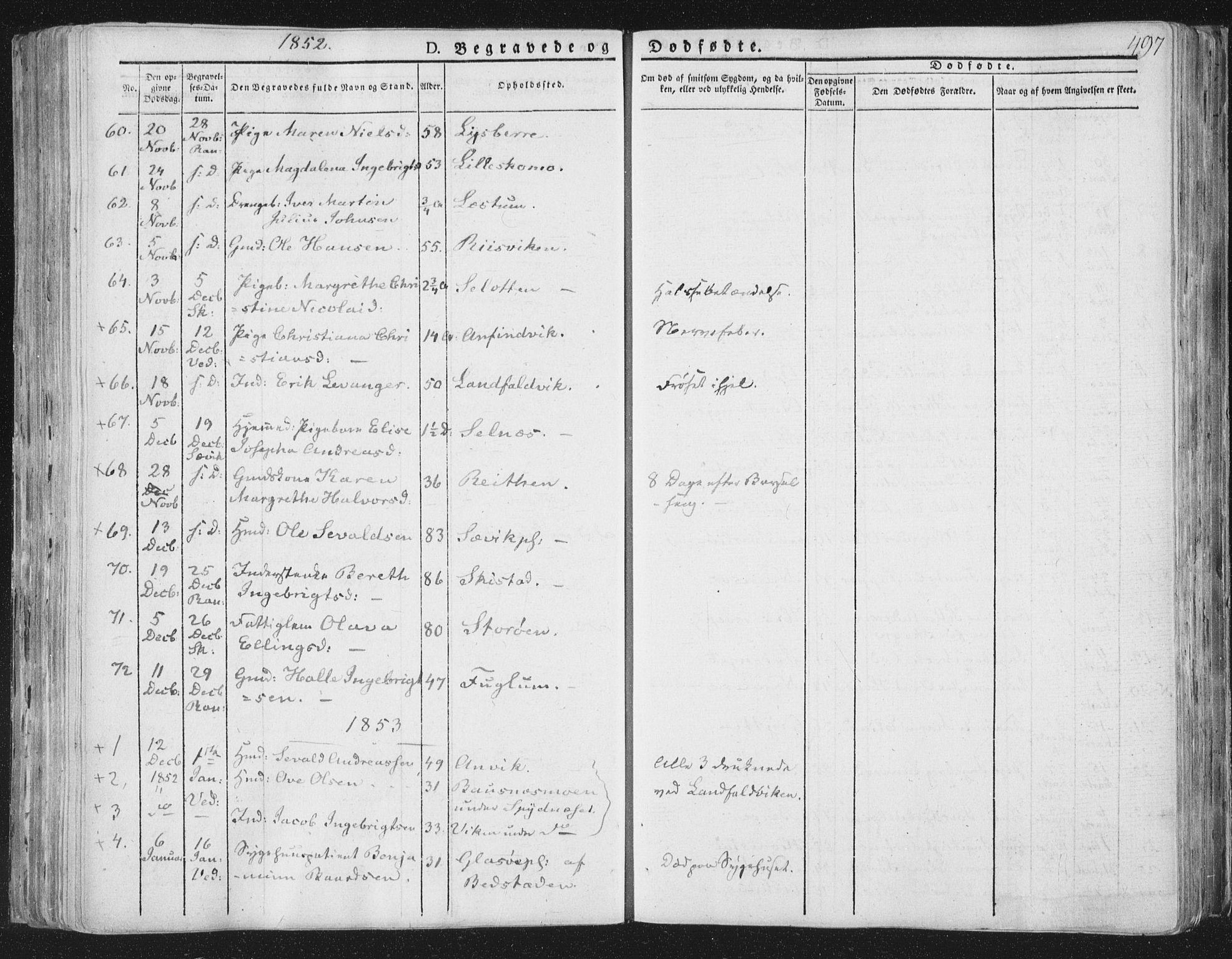 SAT, Ministerialprotokoller, klokkerbøker og fødselsregistre - Nord-Trøndelag, 764/L0552: Ministerialbok nr. 764A07b, 1824-1865, s. 497