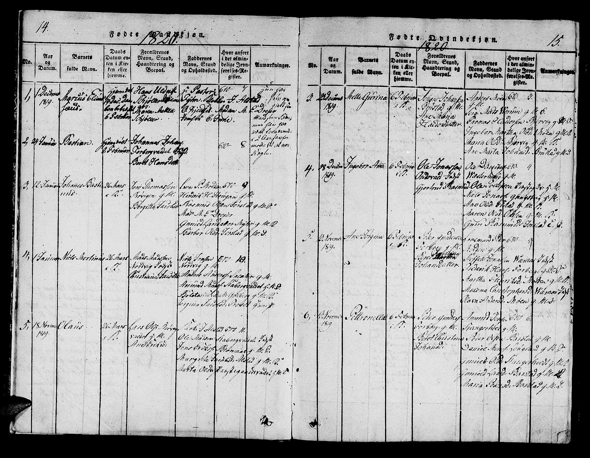 SAT, Ministerialprotokoller, klokkerbøker og fødselsregistre - Nord-Trøndelag, 722/L0217: Ministerialbok nr. 722A04, 1817-1842, s. 14-15