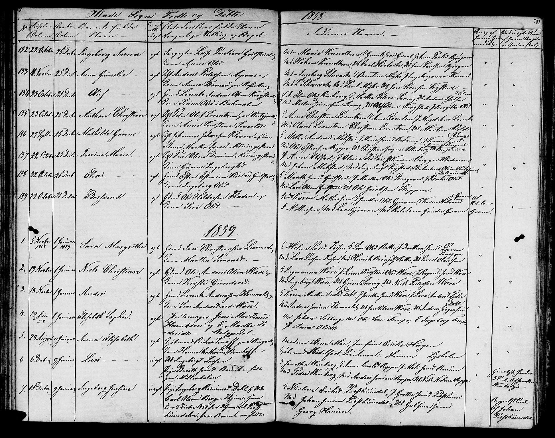SAT, Ministerialprotokoller, klokkerbøker og fødselsregistre - Sør-Trøndelag, 606/L0310: Klokkerbok nr. 606C06, 1850-1859, s. 70