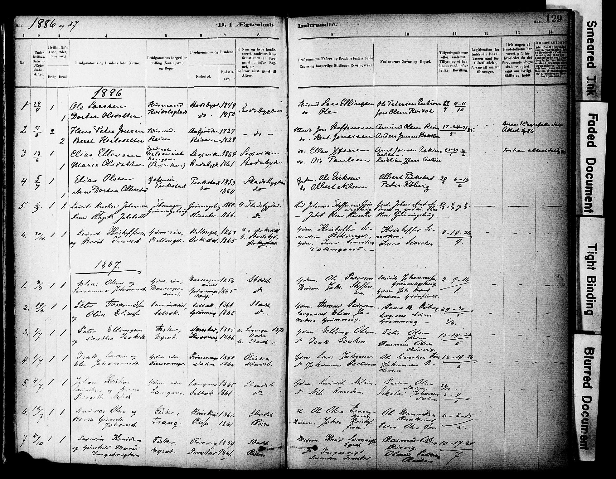 SAT, Ministerialprotokoller, klokkerbøker og fødselsregistre - Sør-Trøndelag, 646/L0615: Ministerialbok nr. 646A13, 1885-1900, s. 129
