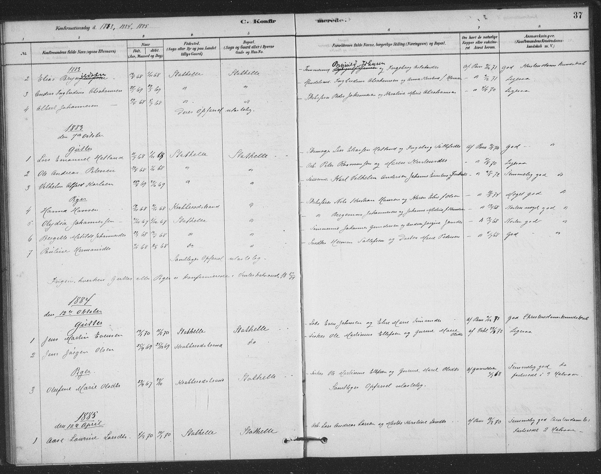 SAKO, Bamble kirkebøker, F/Fb/L0001: Ministerialbok nr. II 1, 1878-1899, s. 37