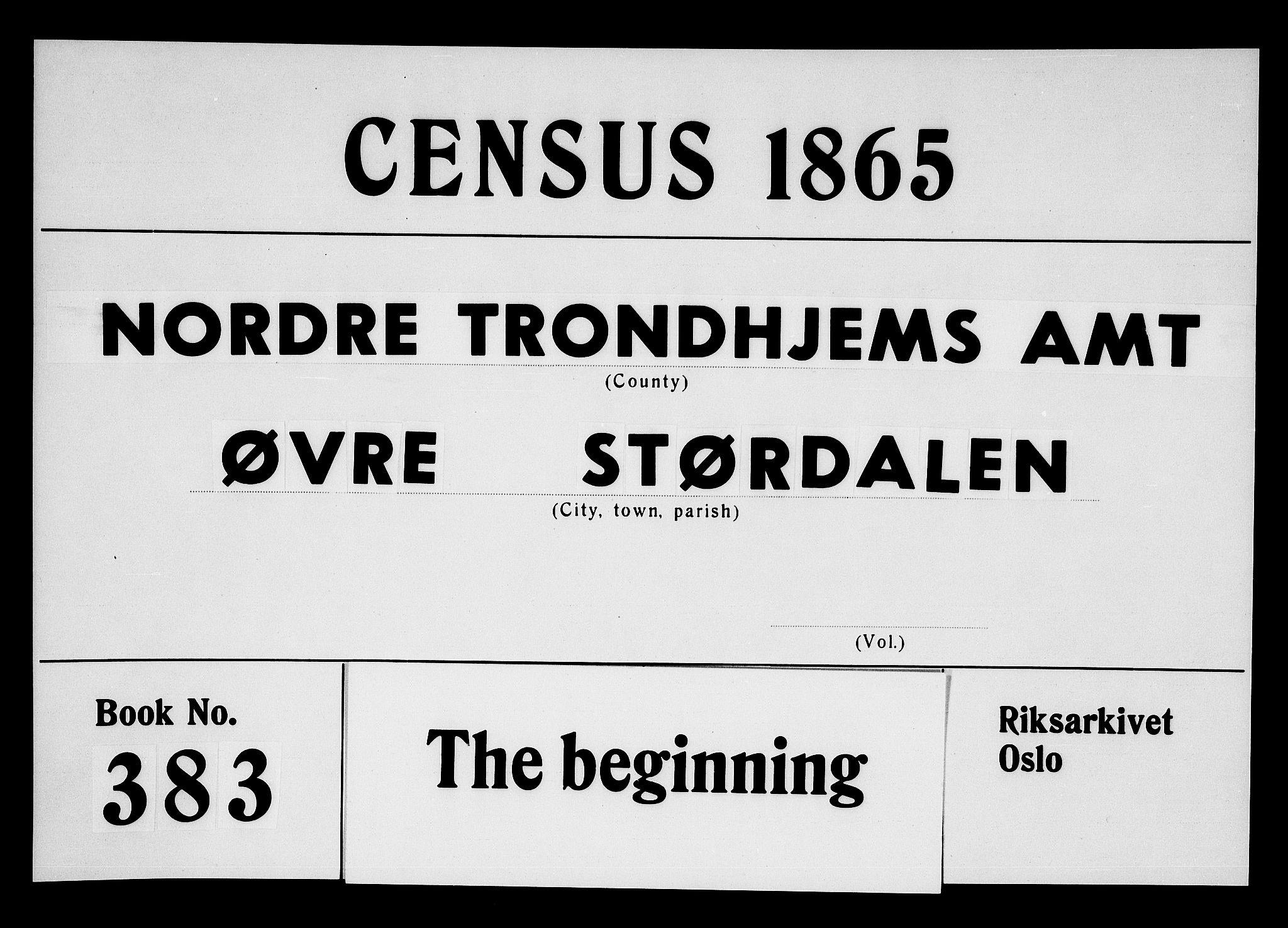 RA, Folketelling 1865 for 1711P Øvre Stjørdal prestegjeld, 1865, s. 1