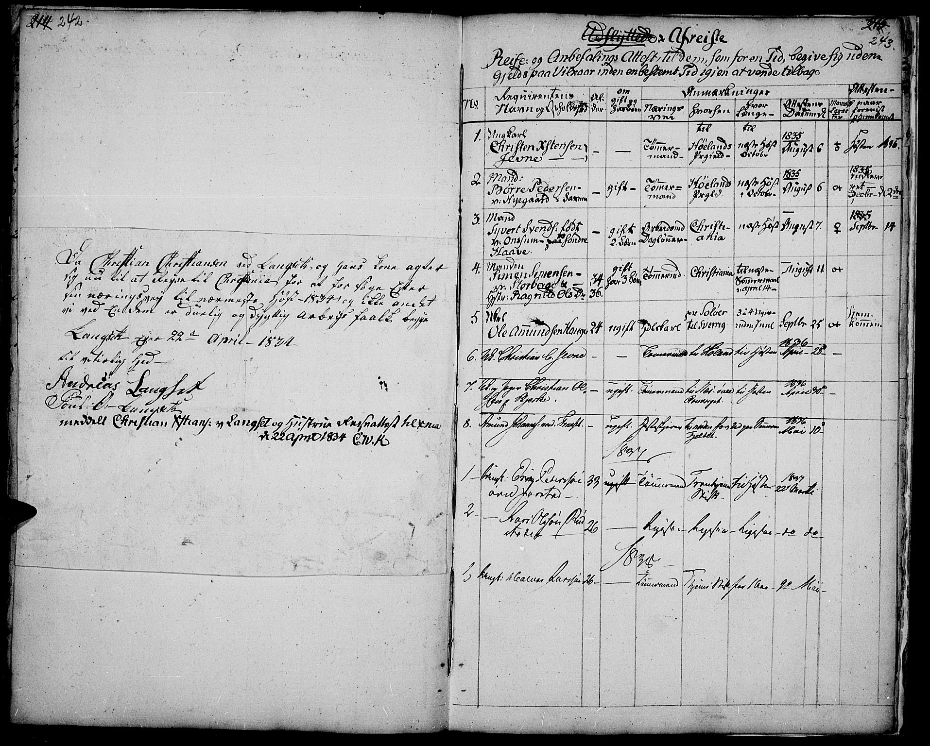 SAH, Fåberg prestekontor, Ministerialbok nr. 4, 1833-1837, s. 242-243