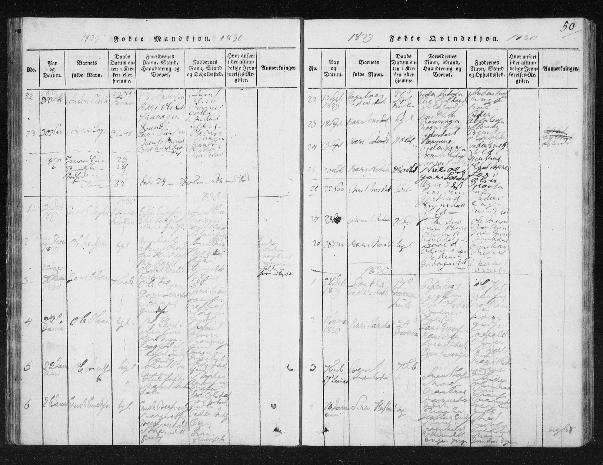 SAT, Ministerialprotokoller, klokkerbøker og fødselsregistre - Sør-Trøndelag, 687/L0996: Ministerialbok nr. 687A04, 1816-1842, s. 50