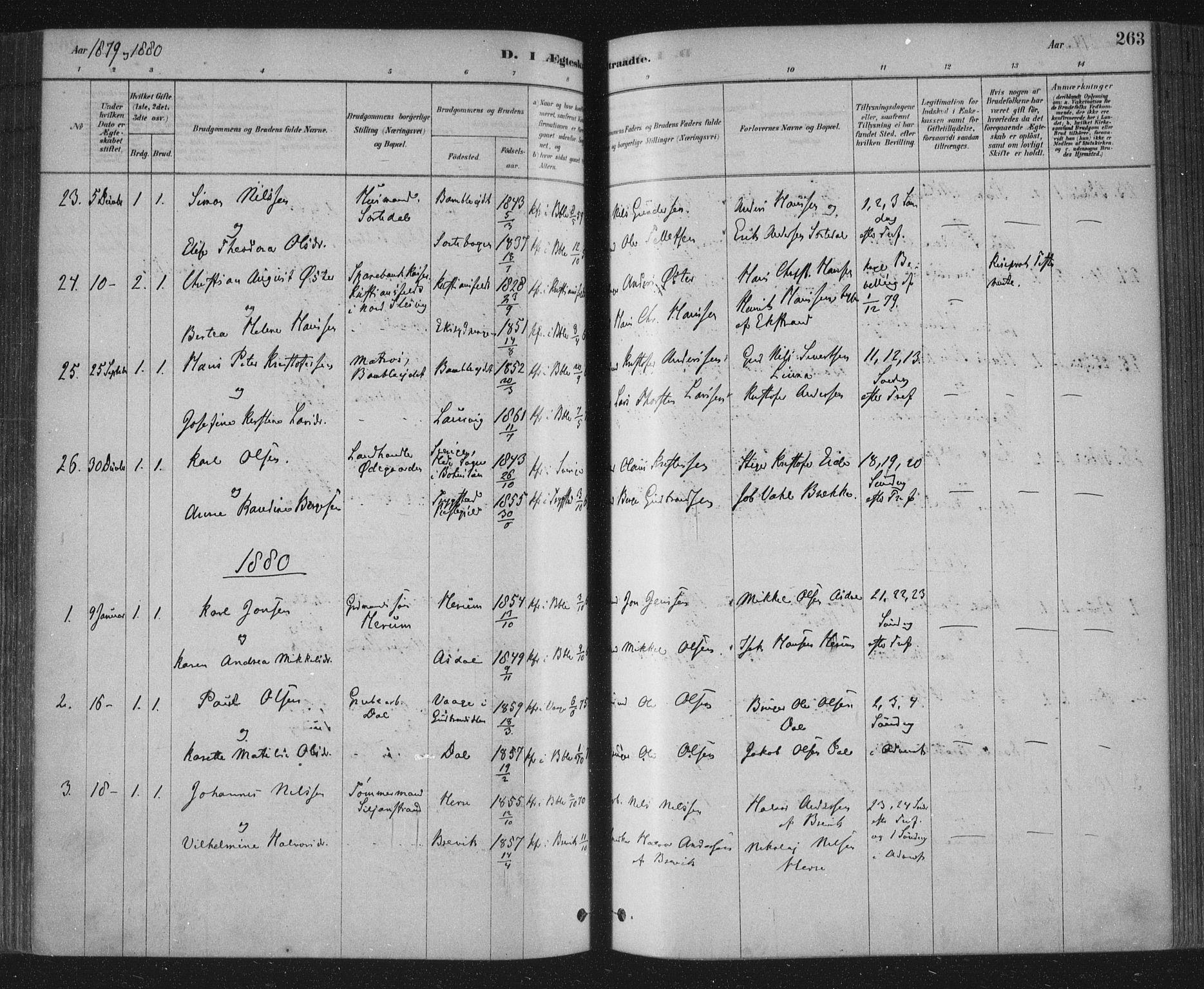 SAKO, Bamble kirkebøker, F/Fa/L0007: Ministerialbok nr. I 7, 1878-1888, s. 263