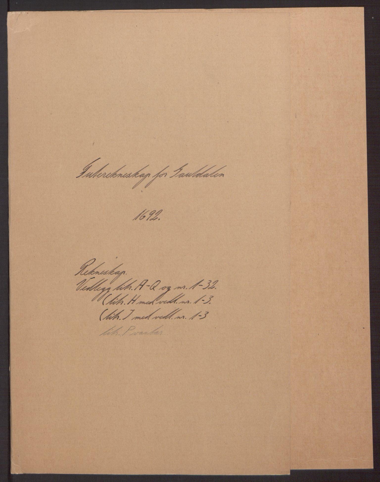 RA, Rentekammeret inntil 1814, Reviderte regnskaper, Fogderegnskap, R59/L3942: Fogderegnskap Gauldal, 1692, s. 2