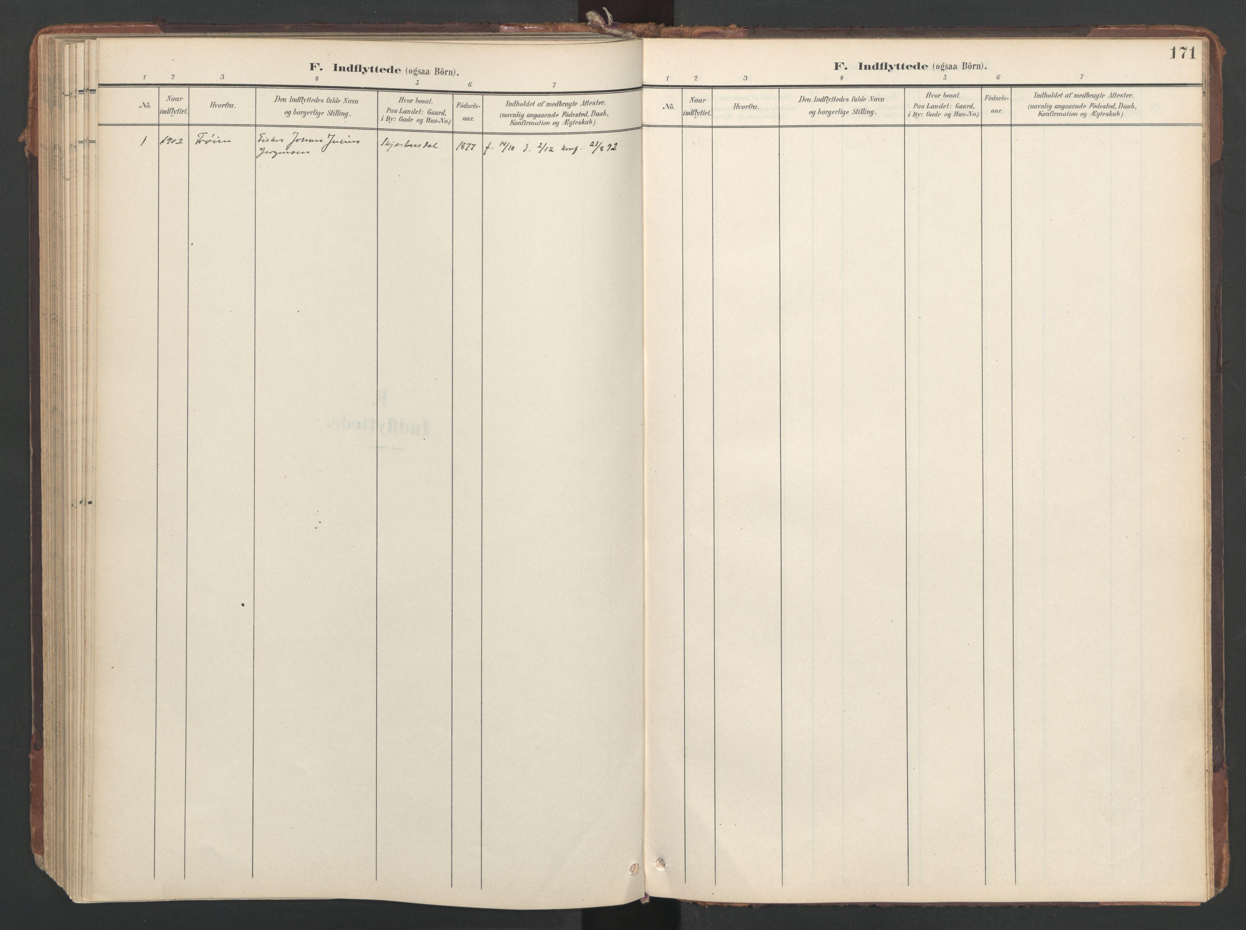 SAT, Ministerialprotokoller, klokkerbøker og fødselsregistre - Sør-Trøndelag, 638/L0568: Ministerialbok nr. 638A01, 1901-1916, s. 171