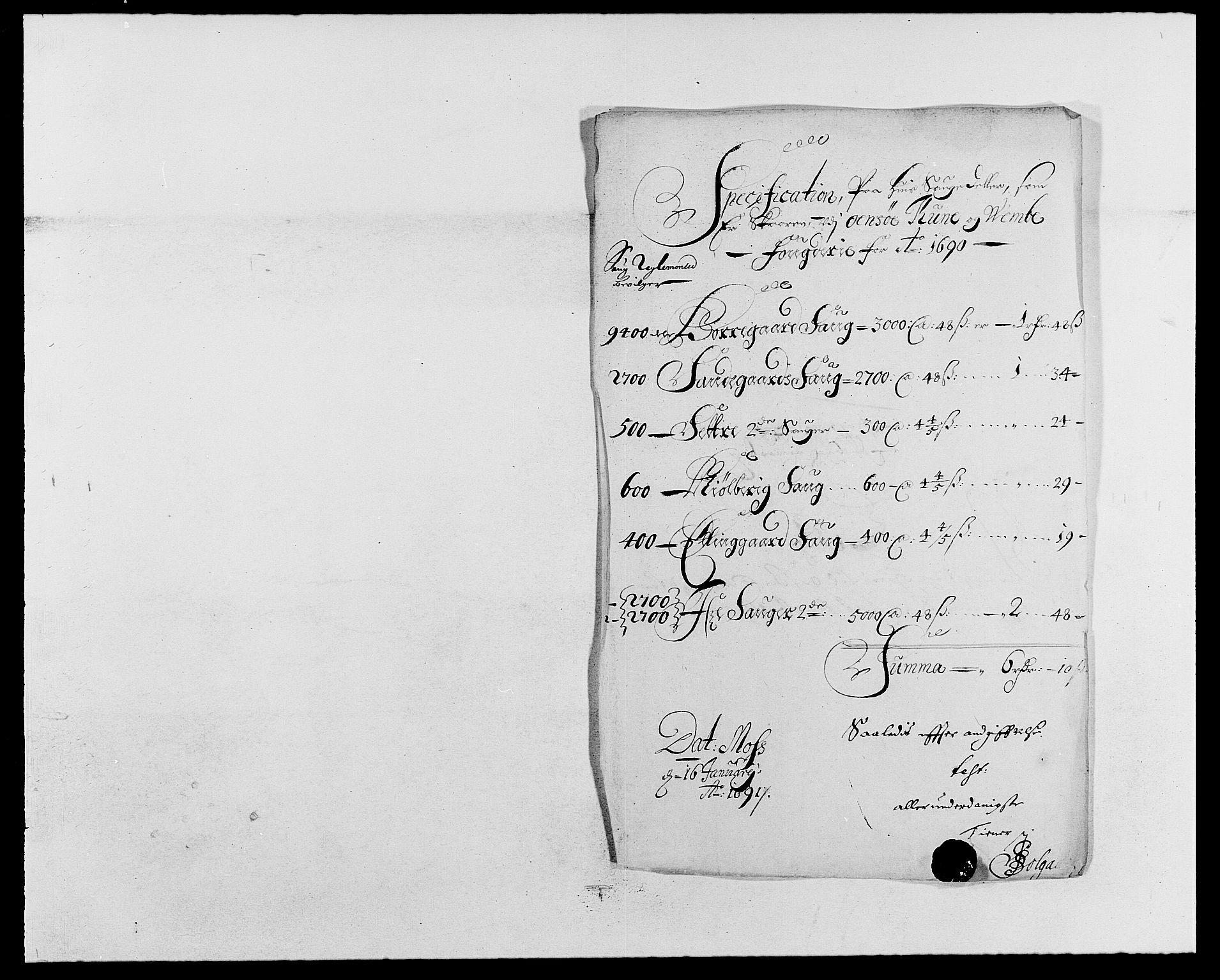 RA, Rentekammeret inntil 1814, Reviderte regnskaper, Fogderegnskap, R03/L0119: Fogderegnskap Onsøy, Tune, Veme og Åbygge fogderi, 1690-1691, s. 136