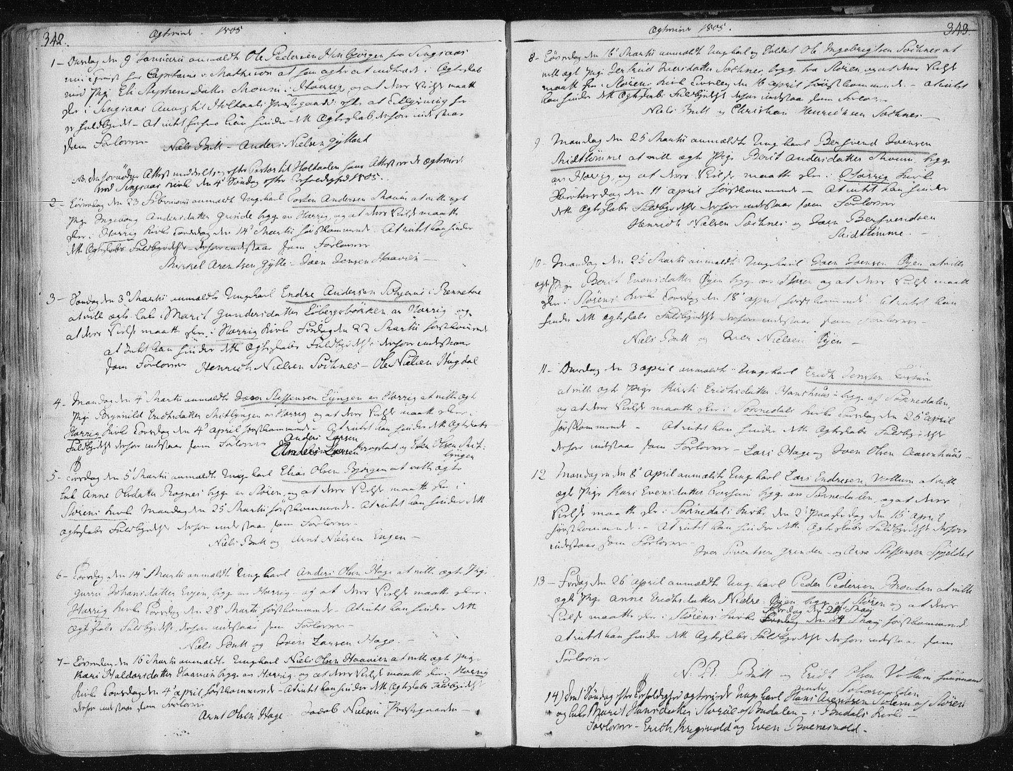 SAT, Ministerialprotokoller, klokkerbøker og fødselsregistre - Sør-Trøndelag, 687/L0992: Ministerialbok nr. 687A03 /1, 1788-1815, s. 342-343