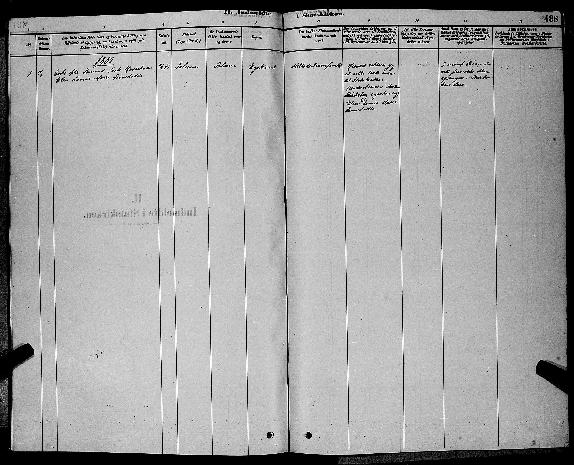 SAKO, Bamble kirkebøker, G/Ga/L0008: Klokkerbok nr. I 8, 1878-1888, s. 438
