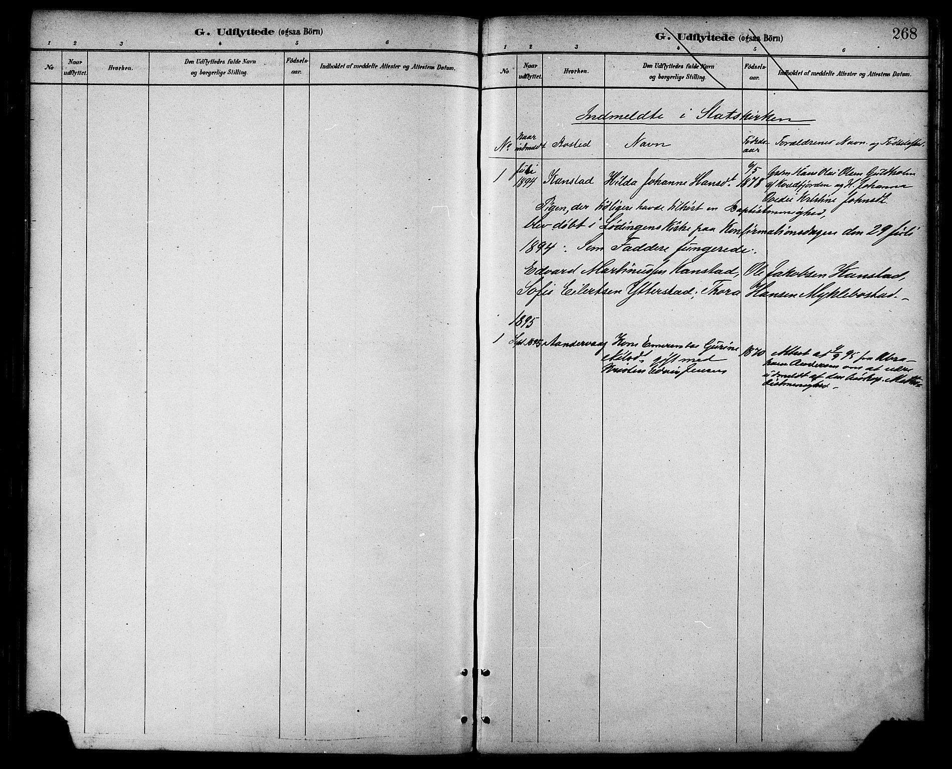SAT, Ministerialprotokoller, klokkerbøker og fødselsregistre - Nordland, 872/L1035: Ministerialbok nr. 872A10, 1884-1896, s. 268