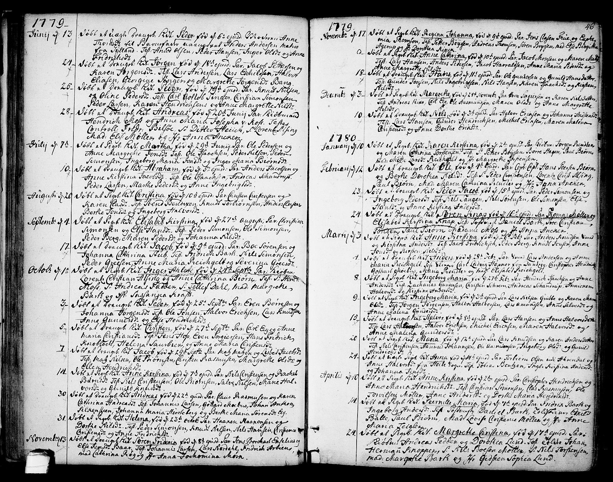 SAKO, Kragerø kirkebøker, F/Fa/L0002: Ministerialbok nr. 2, 1767-1802, s. 46