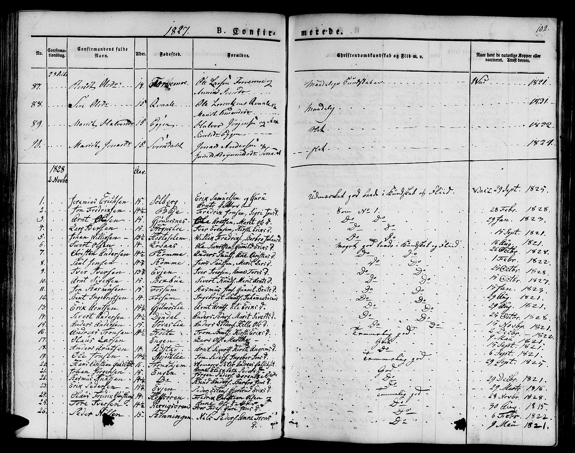 SAT, Ministerialprotokoller, klokkerbøker og fødselsregistre - Sør-Trøndelag, 668/L0804: Ministerialbok nr. 668A04, 1826-1839, s. 102