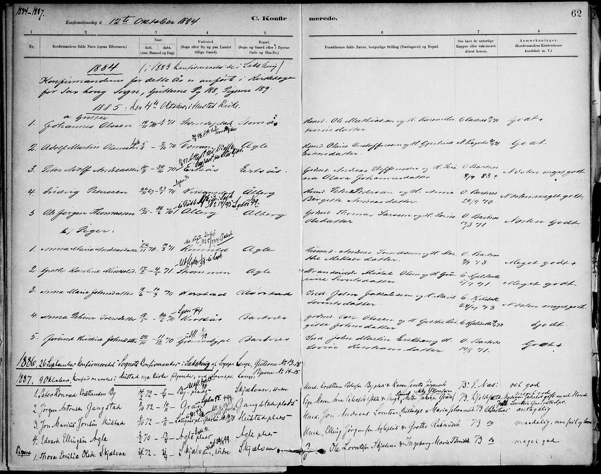 SAT, Ministerialprotokoller, klokkerbøker og fødselsregistre - Nord-Trøndelag, 732/L0316: Ministerialbok nr. 732A01, 1879-1921, s. 62