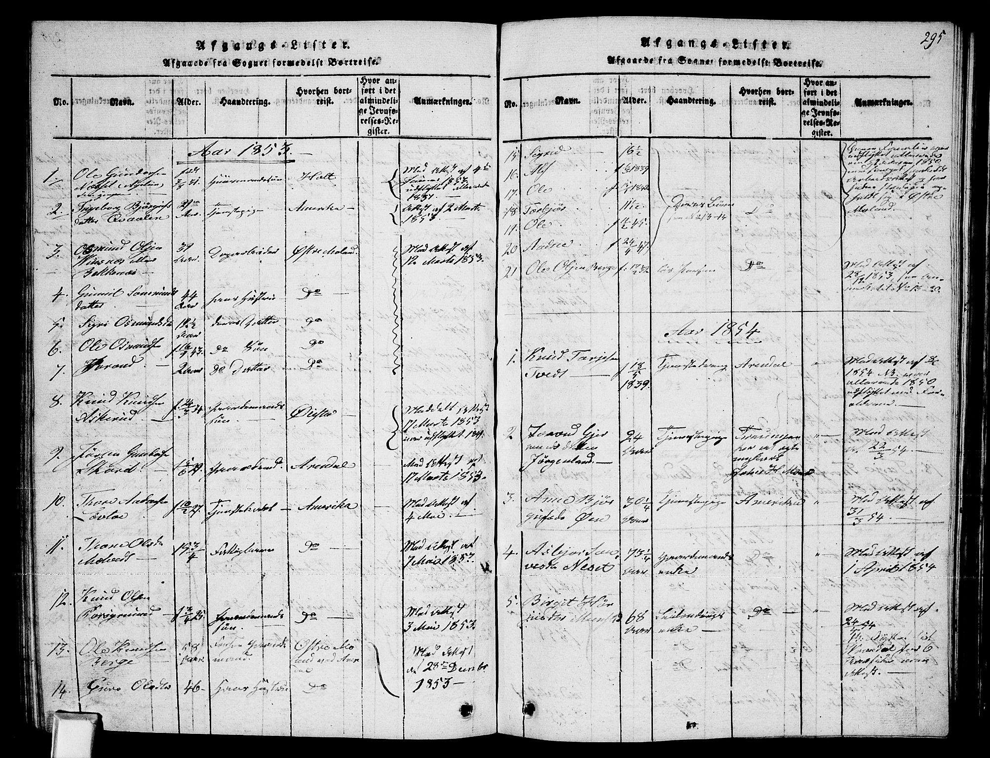 SAKO, Fyresdal kirkebøker, G/Ga/L0002: Klokkerbok nr. I 2, 1815-1857, s. 295