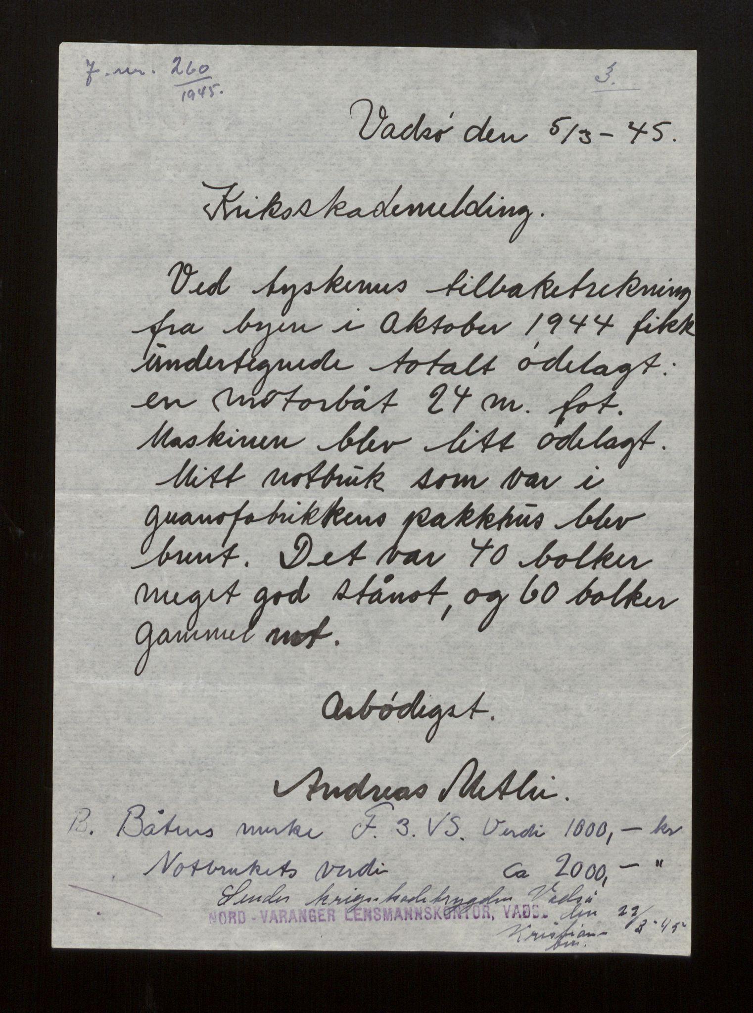 SAB, Fiskeridirektoratet - 1 Adm. ledelse - 13 Båtkontoret, La/L0042: Statens krigsforsikring for fiskeflåten, 1936-1971, s. 458