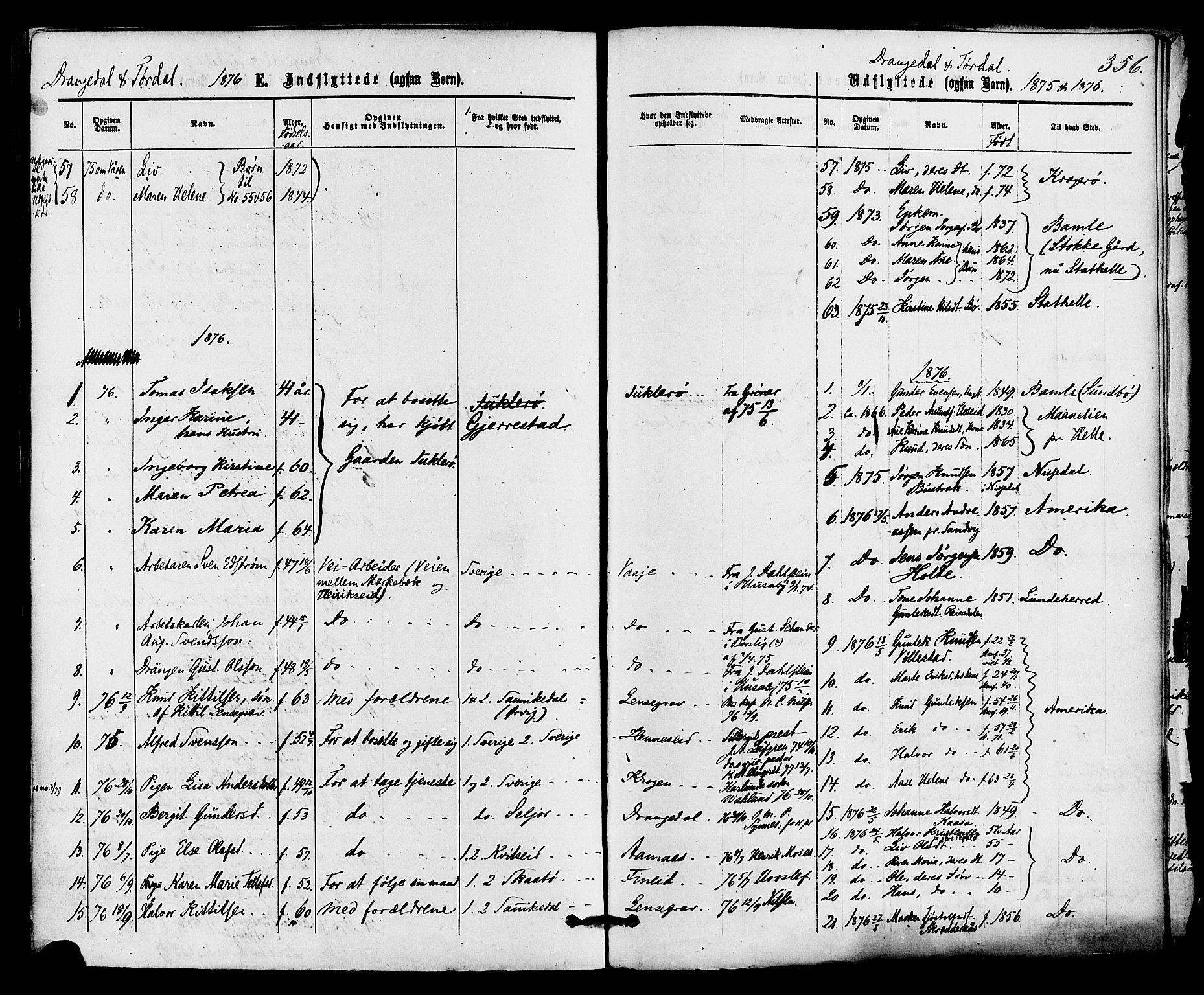 SAKO, Drangedal kirkebøker, F/Fa/L0009: Ministerialbok nr. 9 /1, 1872-1884, s. 356