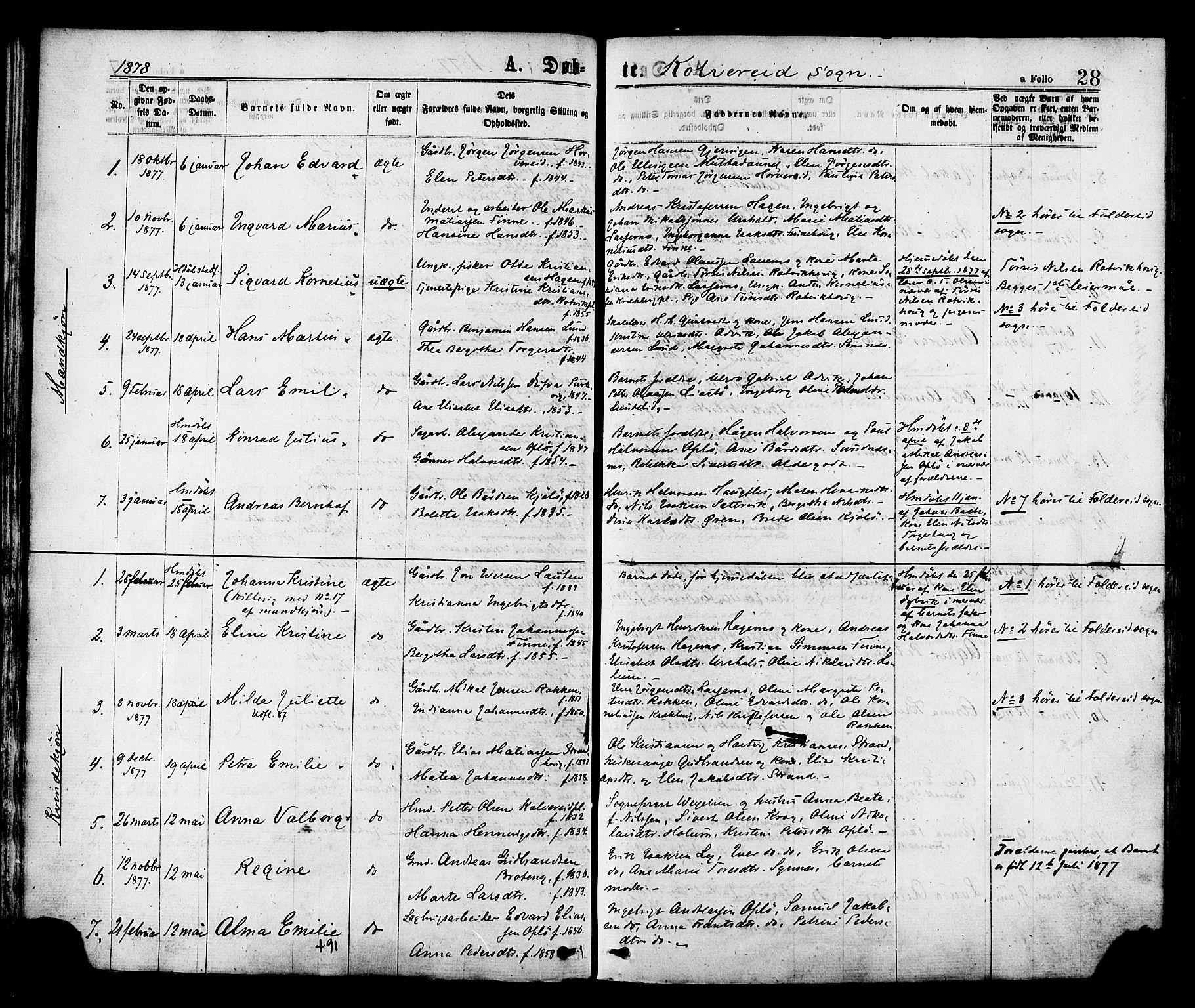 SAT, Ministerialprotokoller, klokkerbøker og fødselsregistre - Nord-Trøndelag, 780/L0642: Ministerialbok nr. 780A07 /1, 1874-1885, s. 28