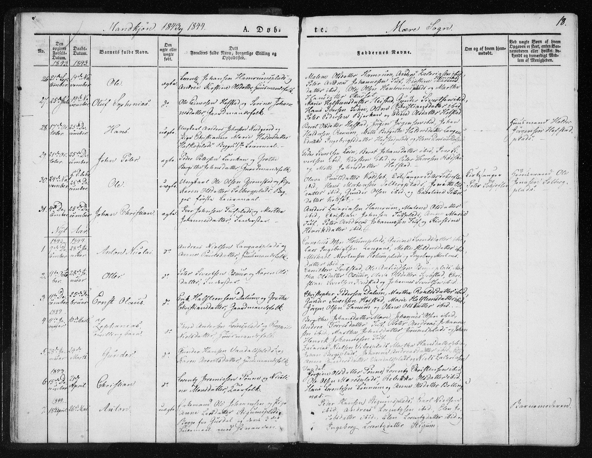 SAT, Ministerialprotokoller, klokkerbøker og fødselsregistre - Nord-Trøndelag, 735/L0339: Ministerialbok nr. 735A06 /1, 1836-1848, s. 18