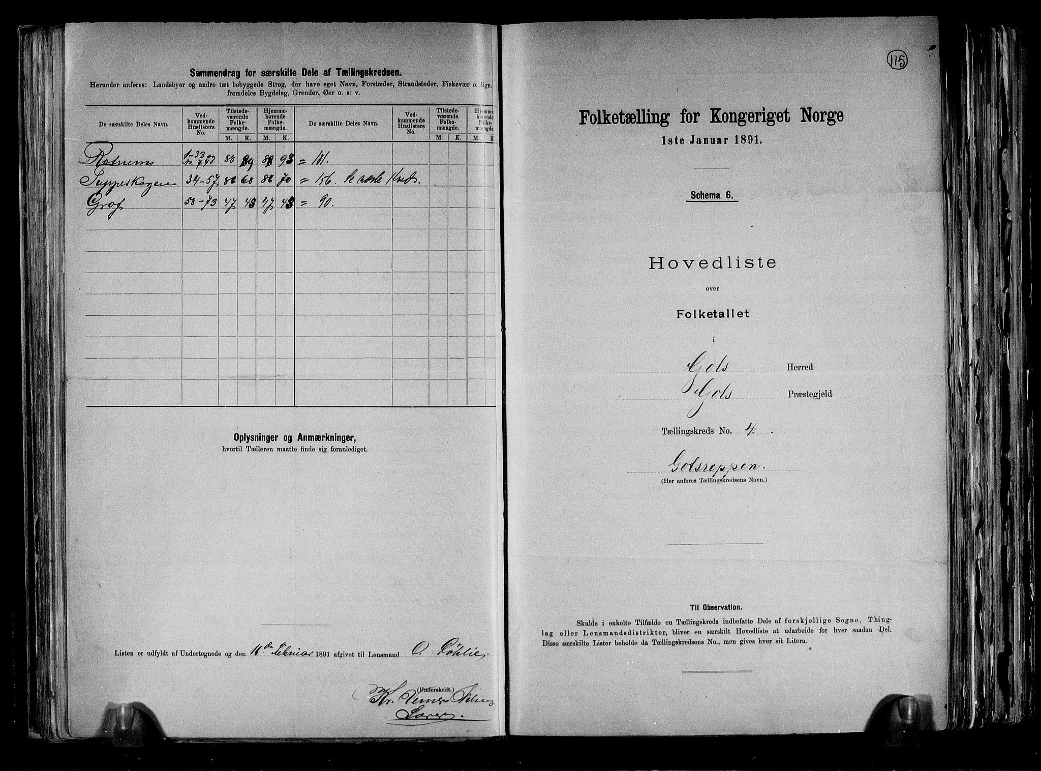 RA, Folketelling 1891 for 0617 Gol og Hemsedal herred, 1891, s. 10