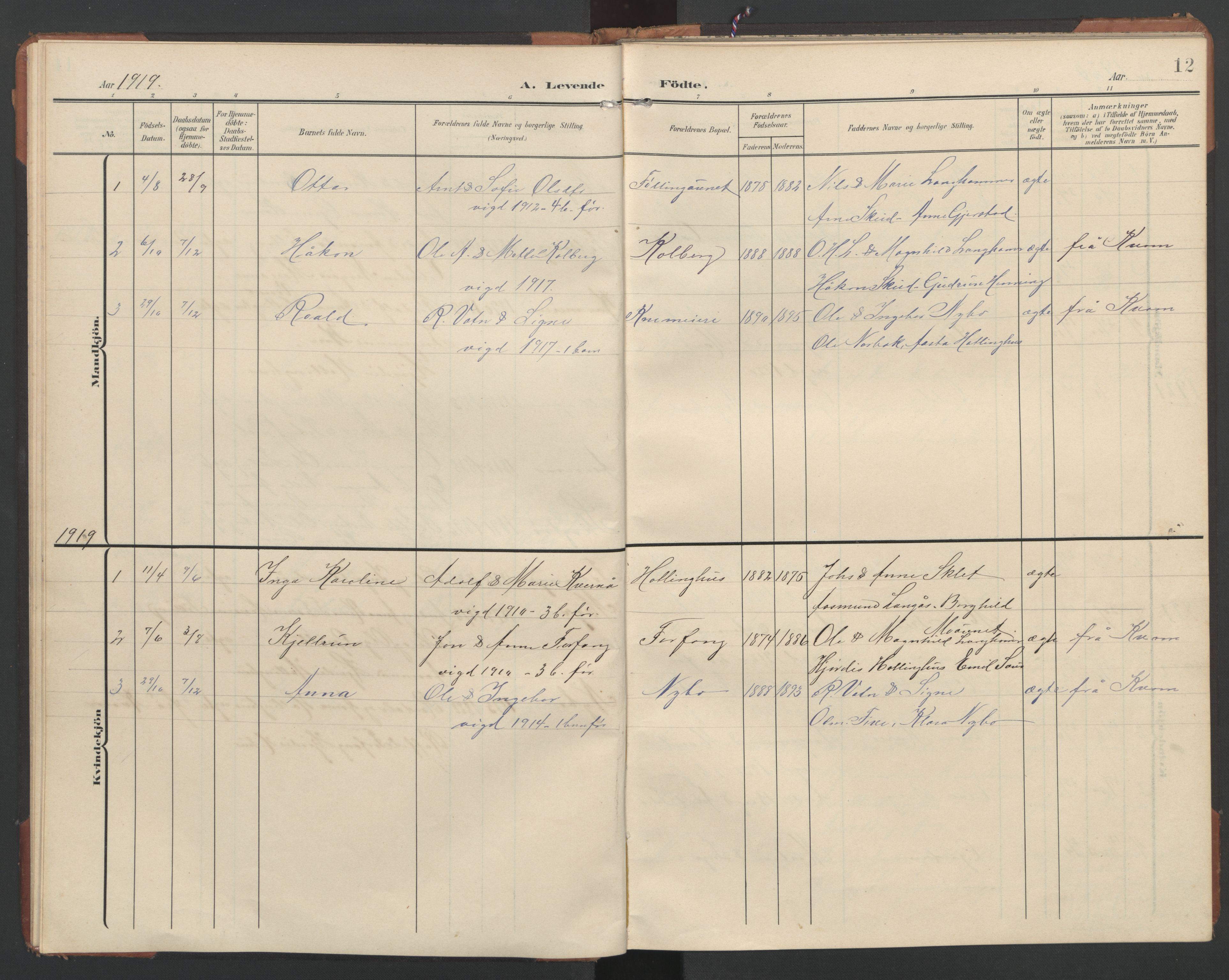 SAT, Ministerialprotokoller, klokkerbøker og fødselsregistre - Nord-Trøndelag, 748/L0465: Klokkerbok nr. 748C01, 1908-1960, s. 12