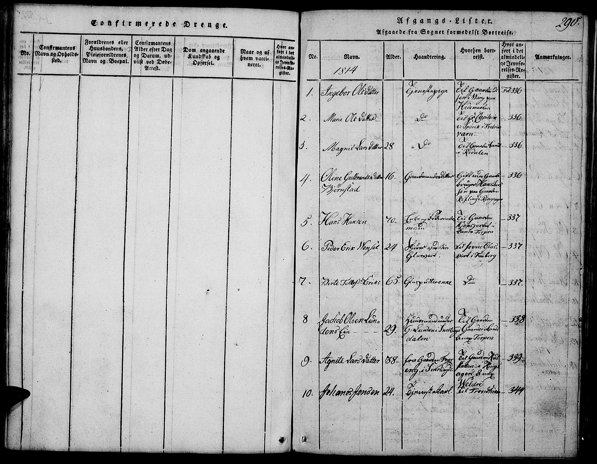 SAH, Biri prestekontor, Klokkerbok nr. 1, 1814-1828, s. 290