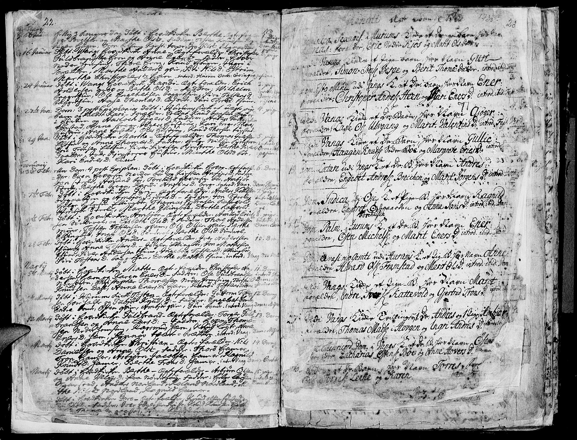 SAH, Vang prestekontor, Valdres, Ministerialbok nr. 1, 1730-1796, s. 22-23