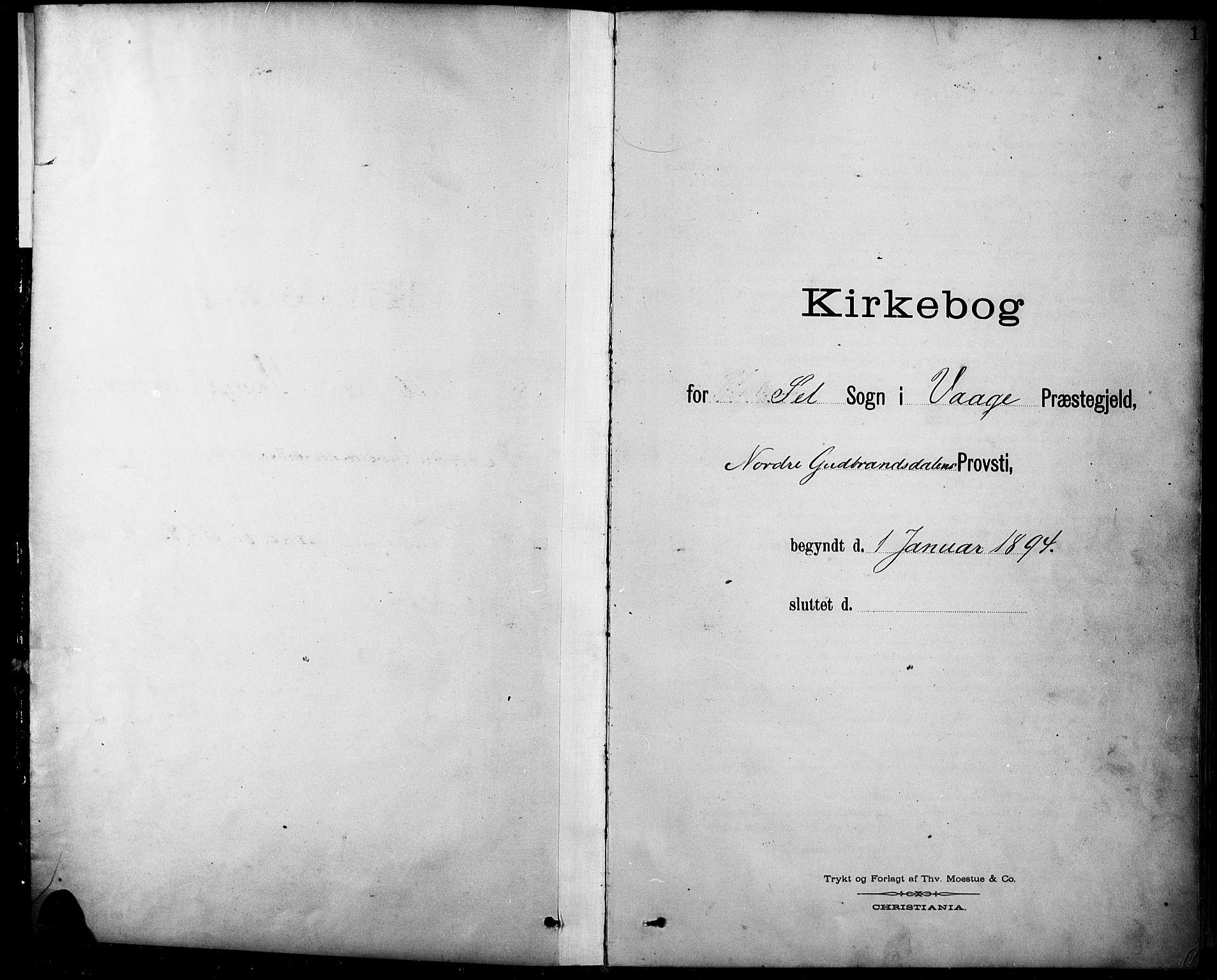 SAH, Sel prestekontor, Klokkerbok nr. 1, 1894-1923, s. 1