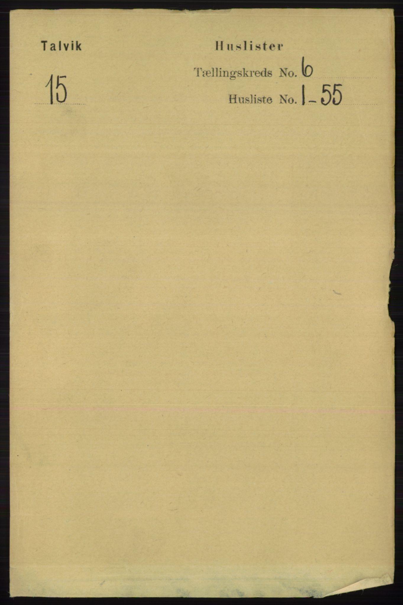 RA, Folketelling 1891 for 2013 Talvik herred, 1891, s. 1523