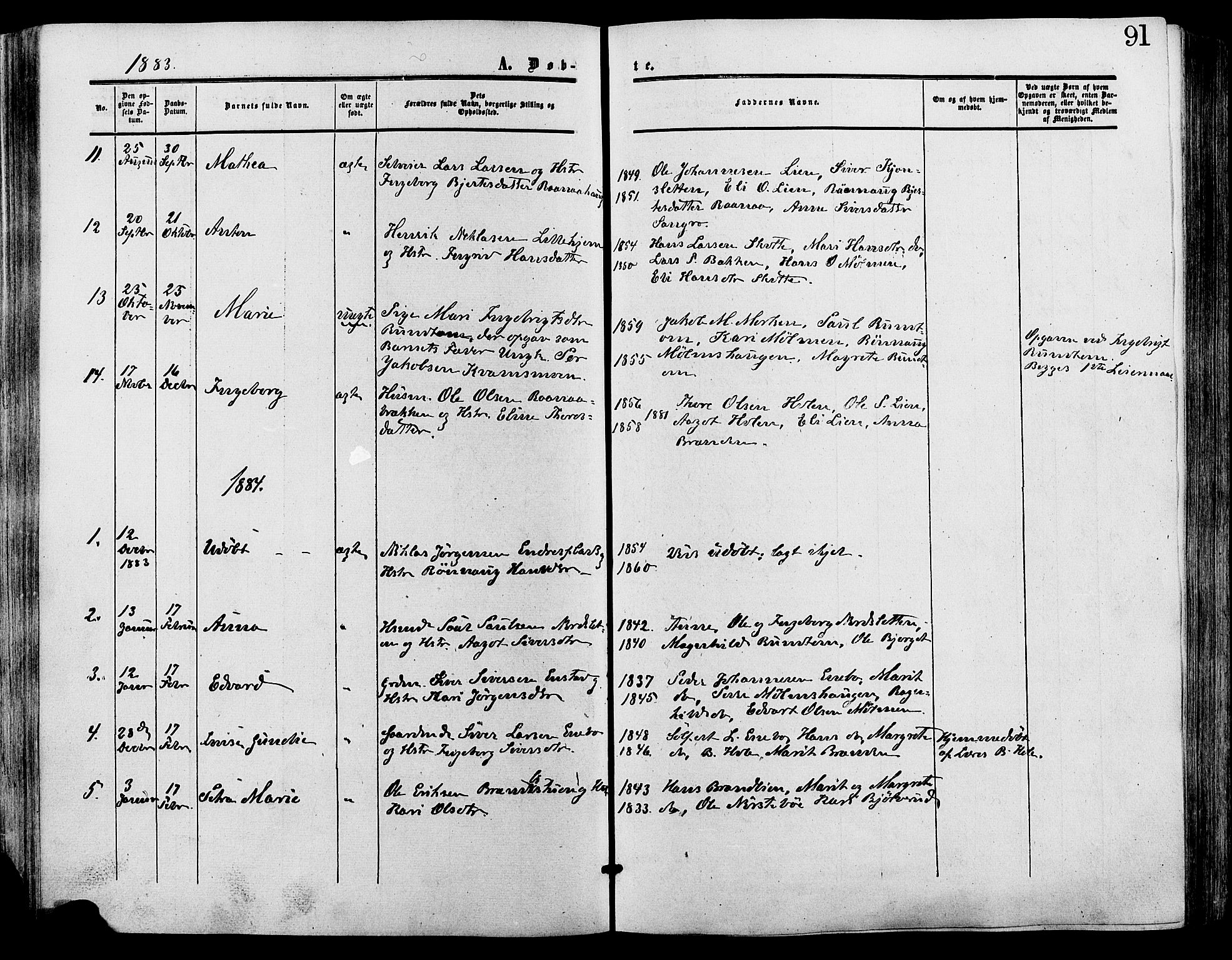 SAH, Lesja prestekontor, Ministerialbok nr. 9, 1854-1889, s. 91