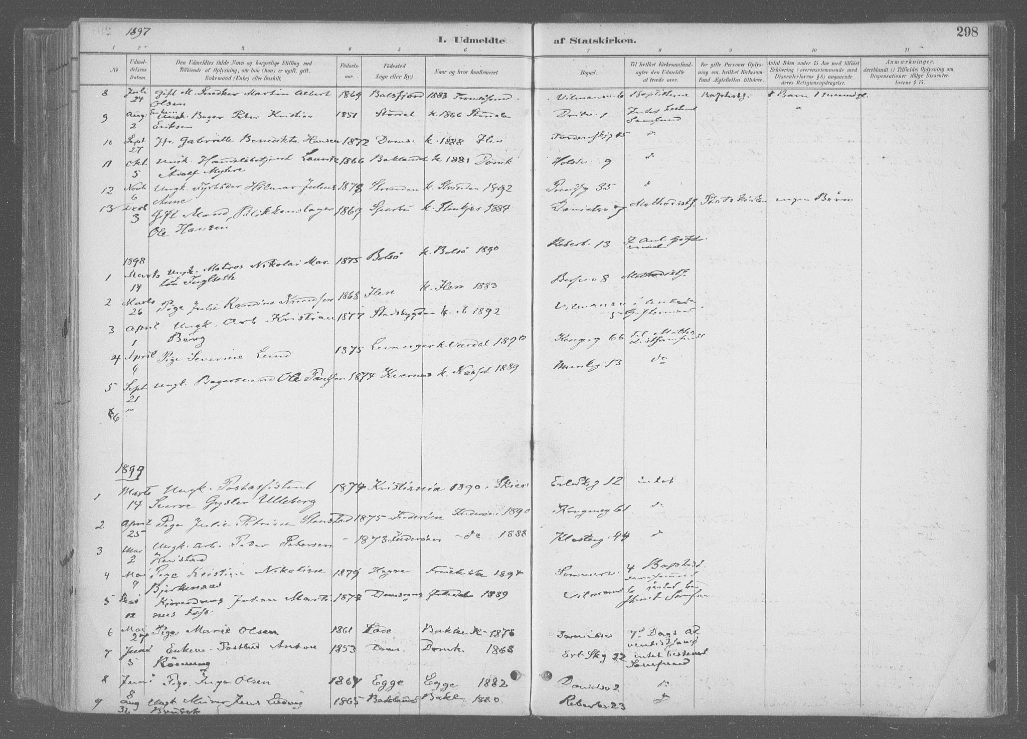 SAT, Ministerialprotokoller, klokkerbøker og fødselsregistre - Sør-Trøndelag, 601/L0064: Ministerialbok nr. 601A31, 1891-1911, s. 298