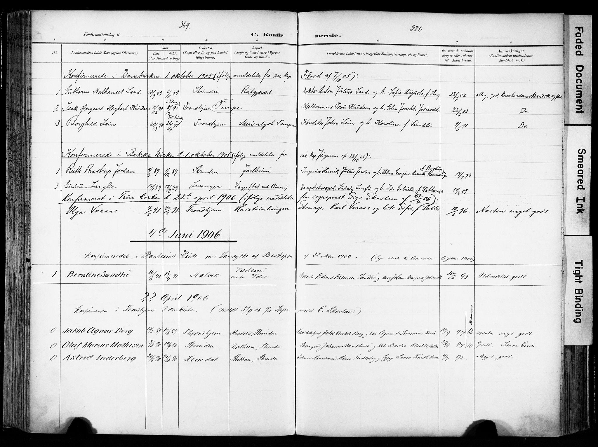 SAT, Ministerialprotokoller, klokkerbøker og fødselsregistre - Sør-Trøndelag, 606/L0301: Ministerialbok nr. 606A16, 1894-1907, s. 369-370