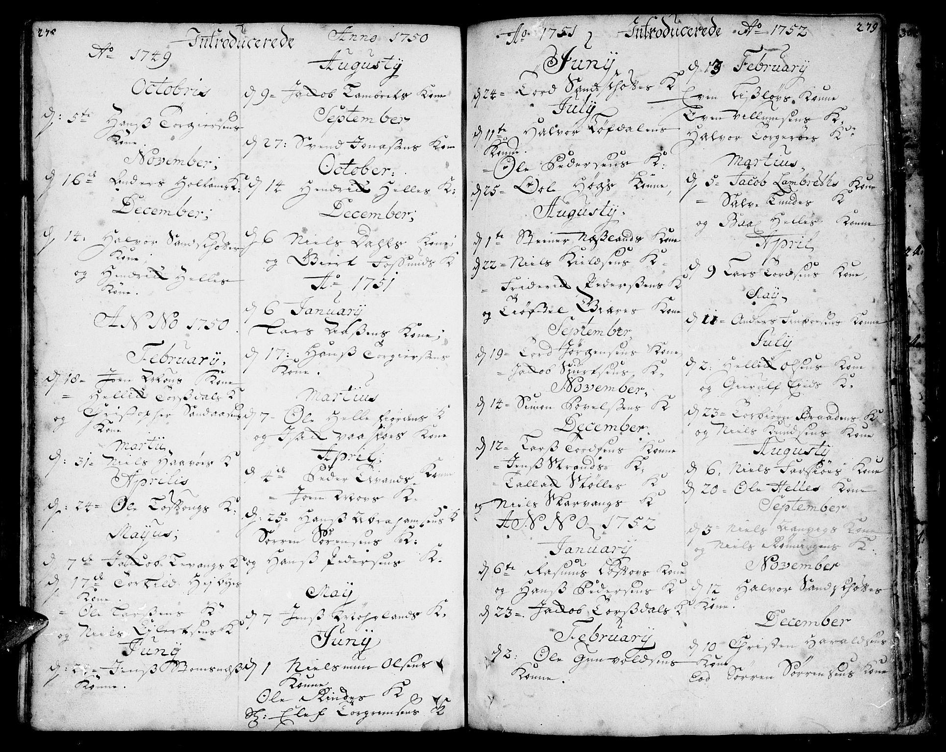 SAKO, Sannidal kirkebøker, F/Fa/L0001: Ministerialbok nr. 1, 1702-1766, s. 278-279