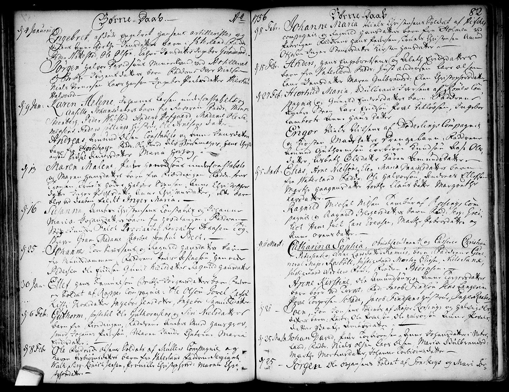 SAO, Garnisonsmenigheten Kirkebøker, F/Fa/L0001: Ministerialbok nr. 1, 1734-1756, s. 82