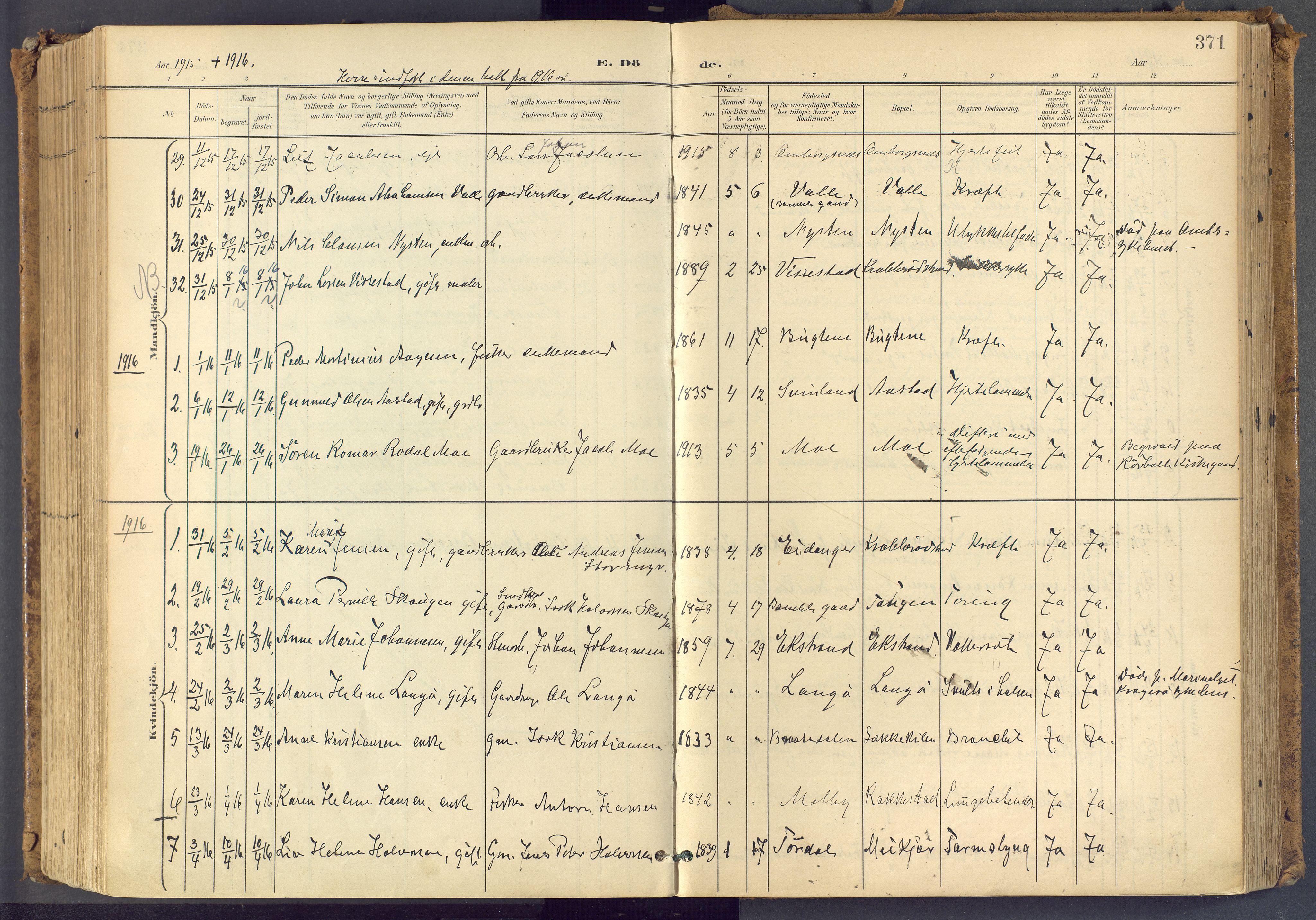 SAKO, Bamble kirkebøker, F/Fa/L0009: Ministerialbok nr. I 9, 1901-1917, s. 371