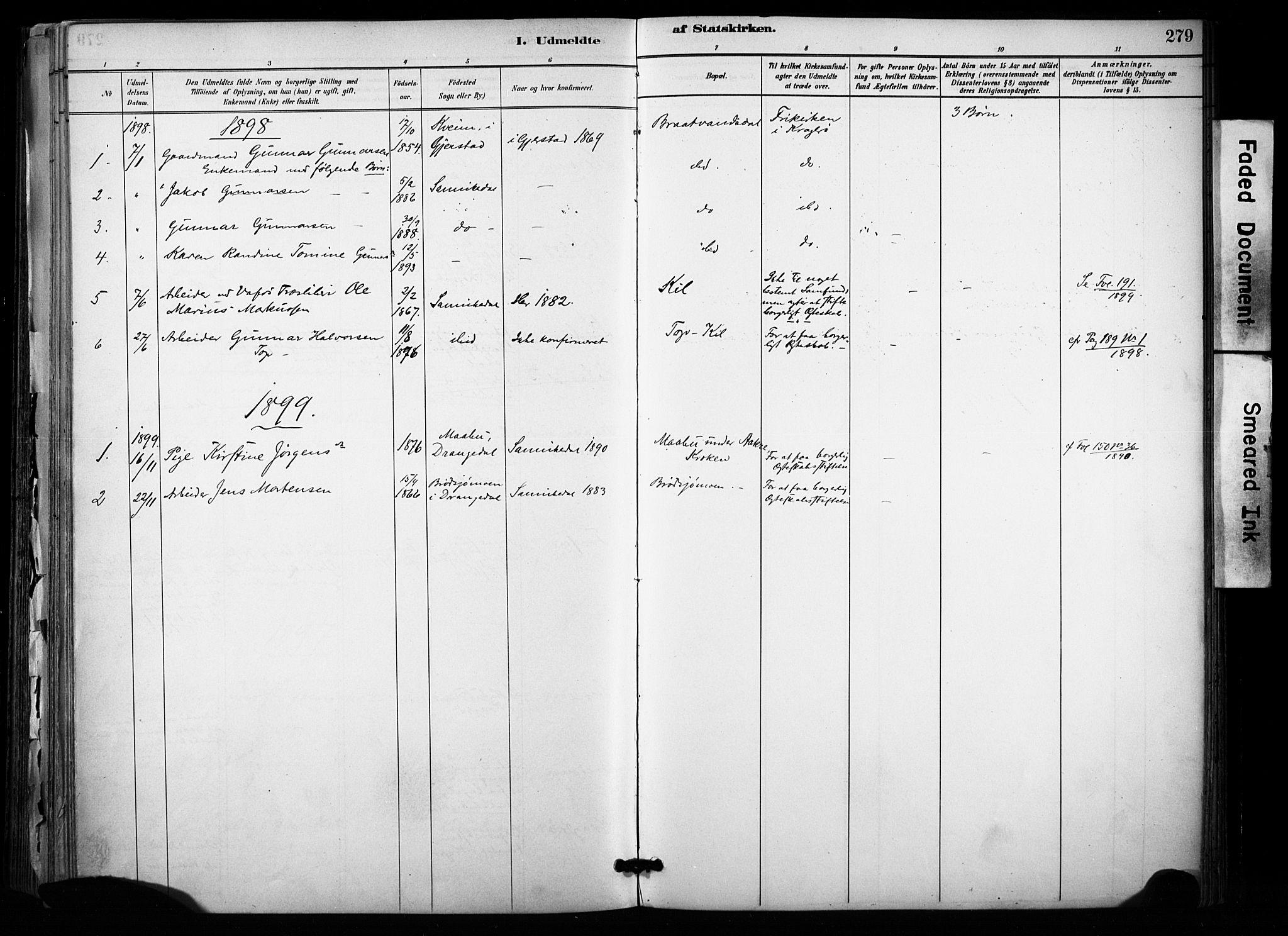 SAKO, Sannidal kirkebøker, F/Fa/L0015: Ministerialbok nr. 15, 1884-1899, s. 279