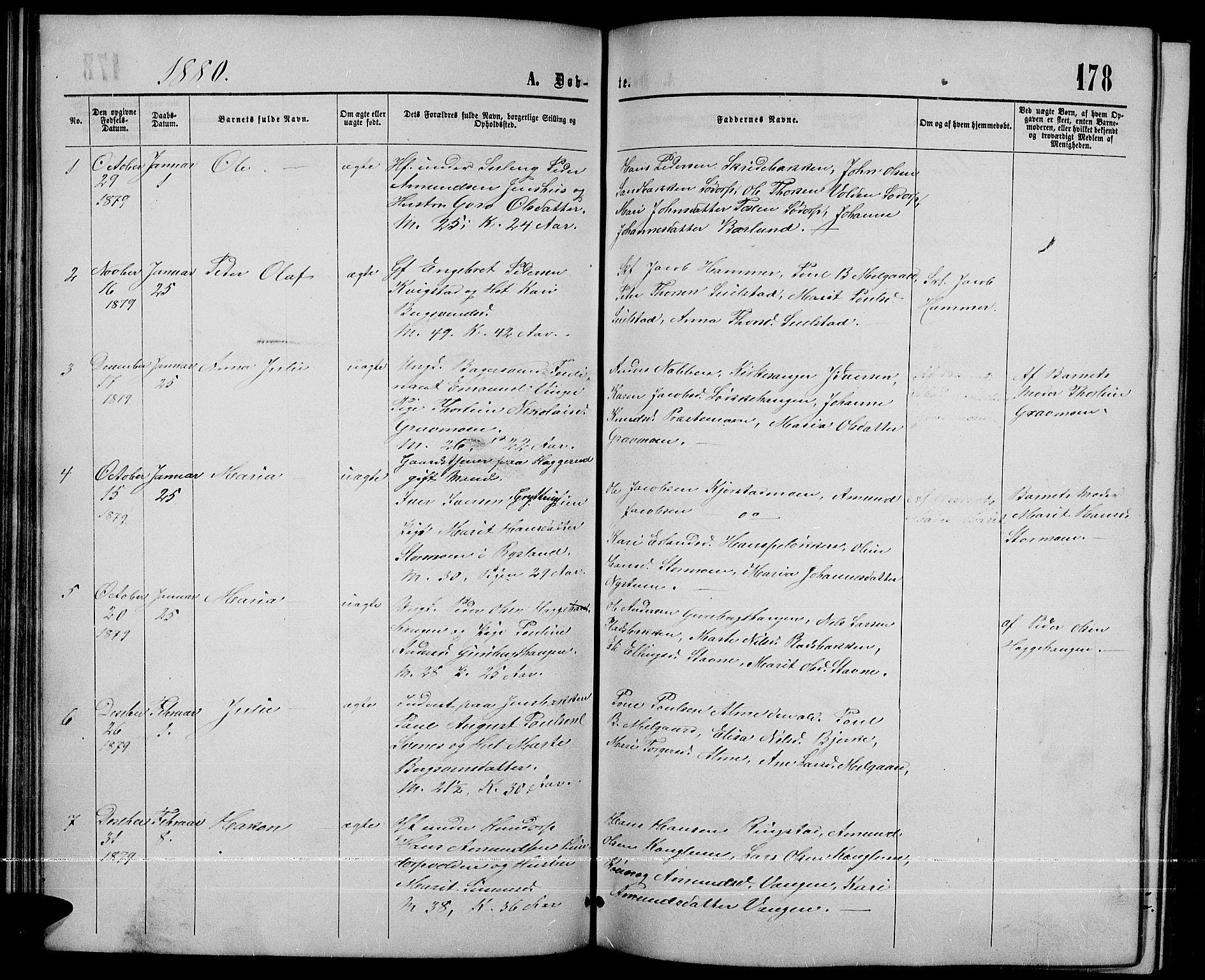 SAH, Sør-Fron prestekontor, H/Ha/Hab/L0002: Klokkerbok nr. 2, 1864-1883, s. 178