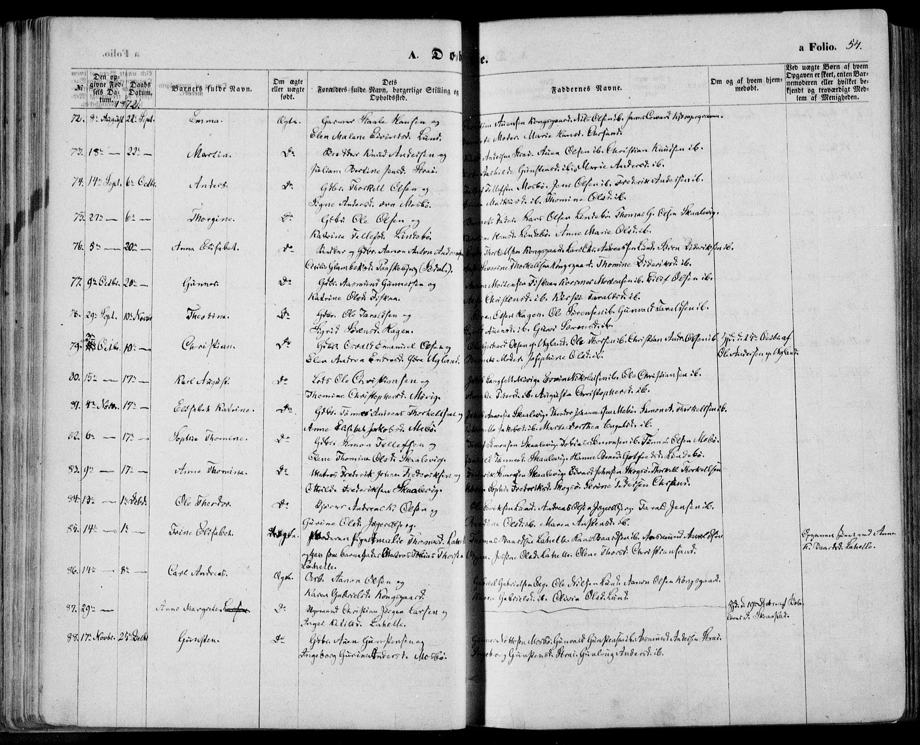 SAK, Oddernes sokneprestkontor, F/Fa/Faa/L0008: Ministerialbok nr. A 8, 1864-1880, s. 54